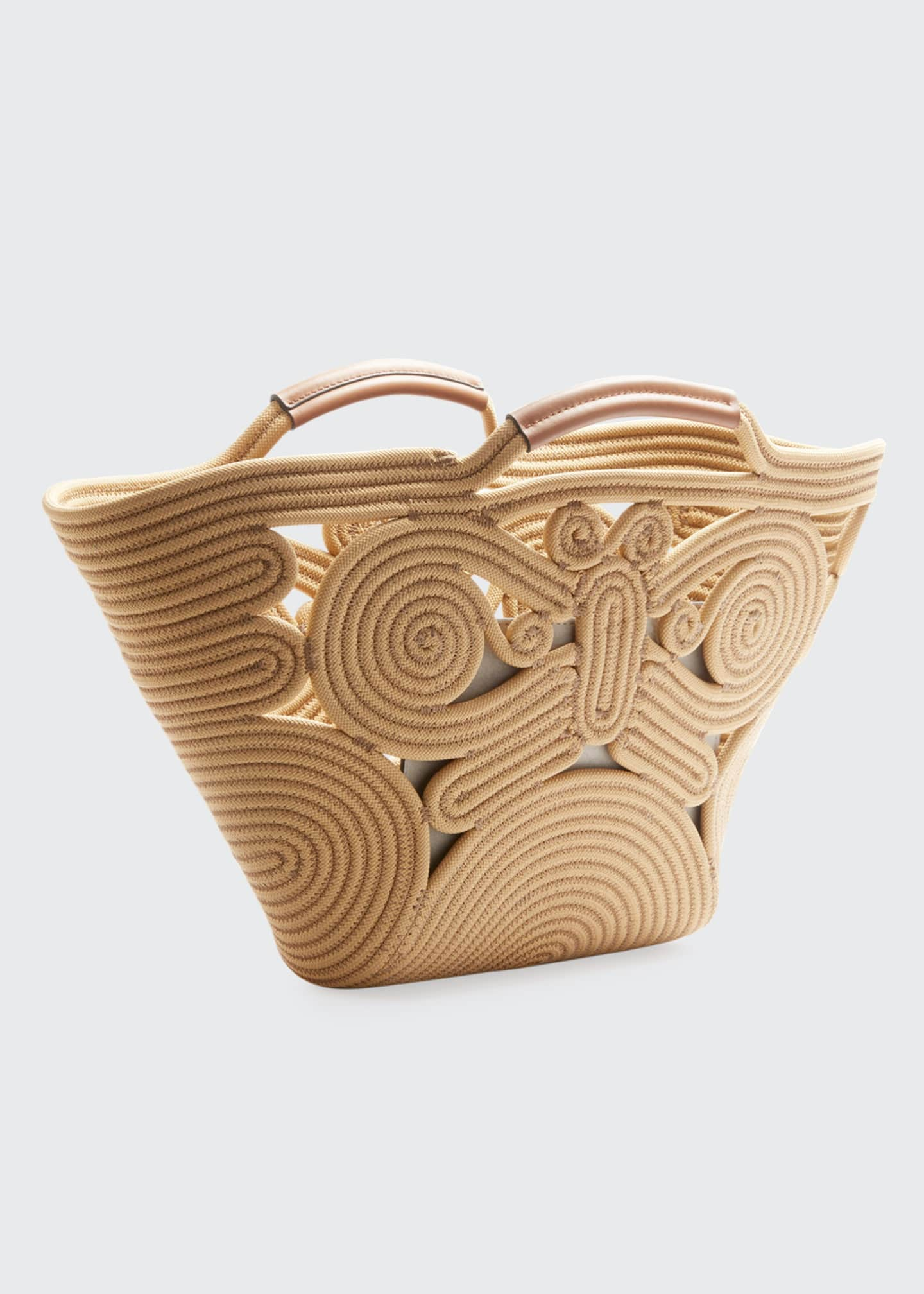 Image 2 of 3: Butterfly Woven Rope Tote Bag
