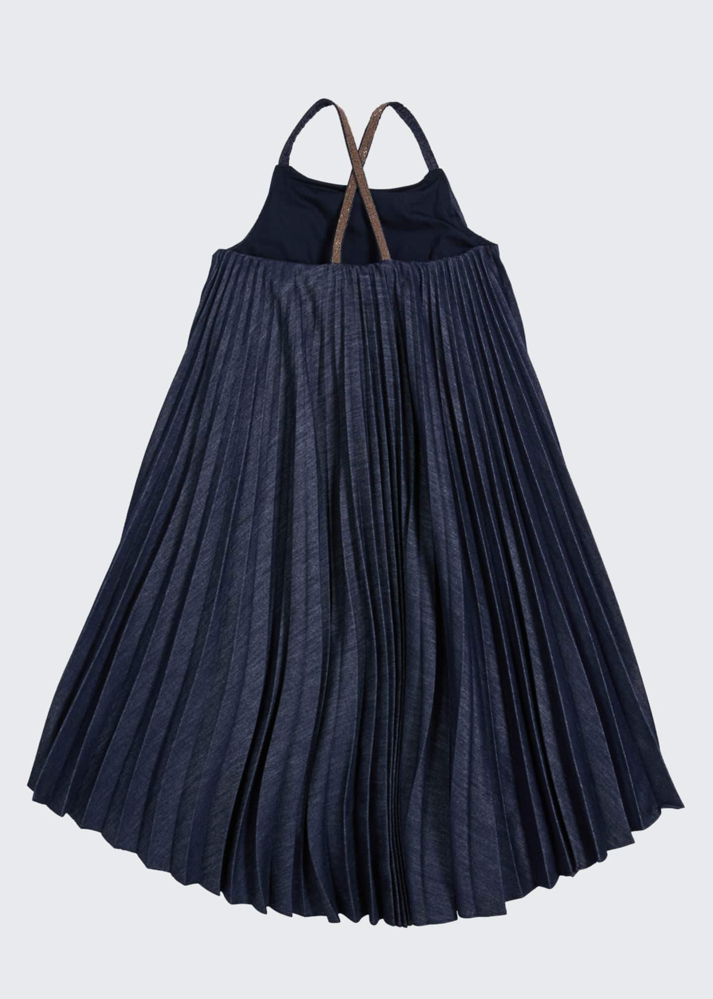 Image 2 of 4: Girl's Denim Plisse Dress with Monili Straps, Size 4-6