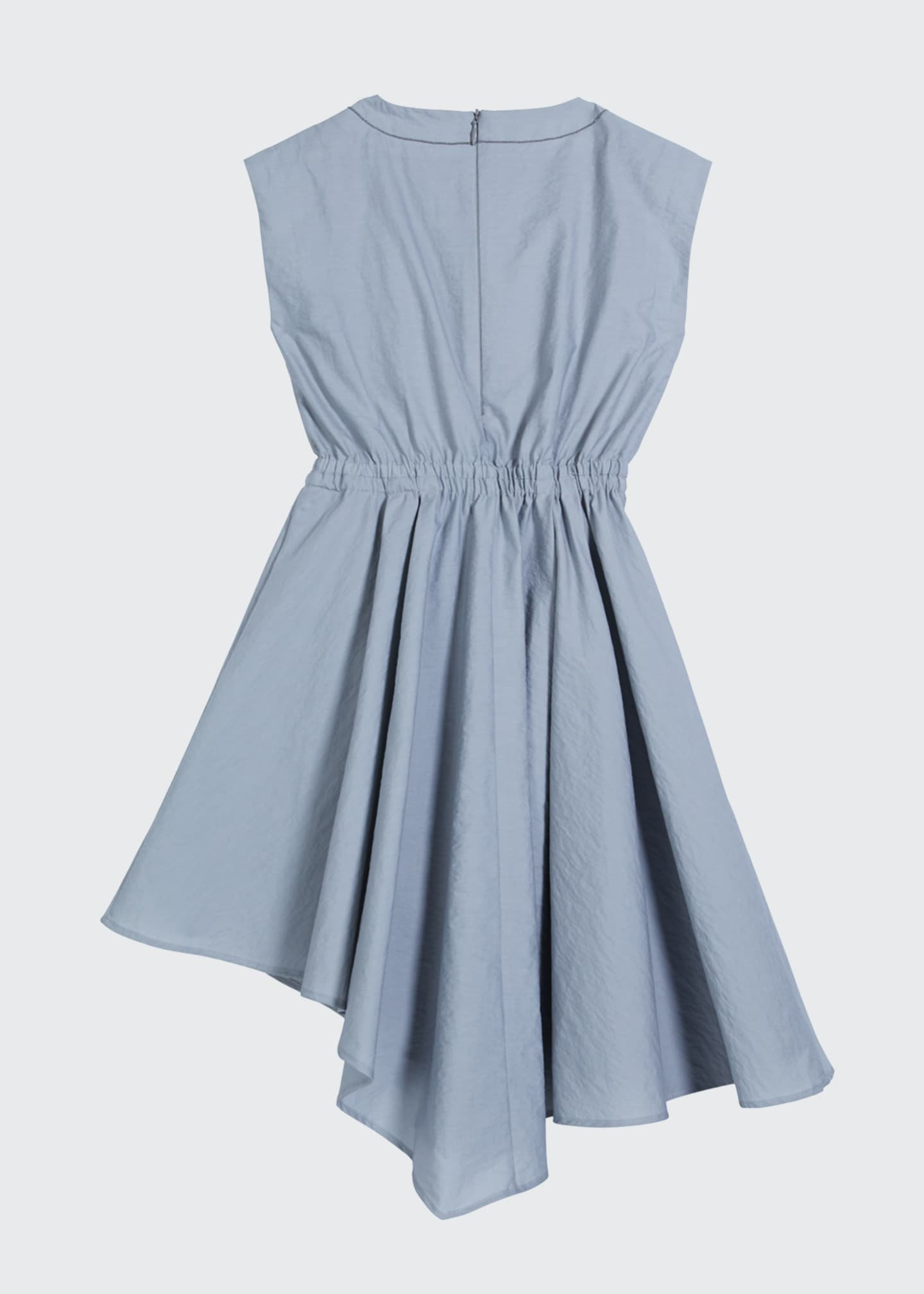 Image 2 of 3: Girl's Cinched-Waist Asymmetrical Poplin Dress, Size 4-6