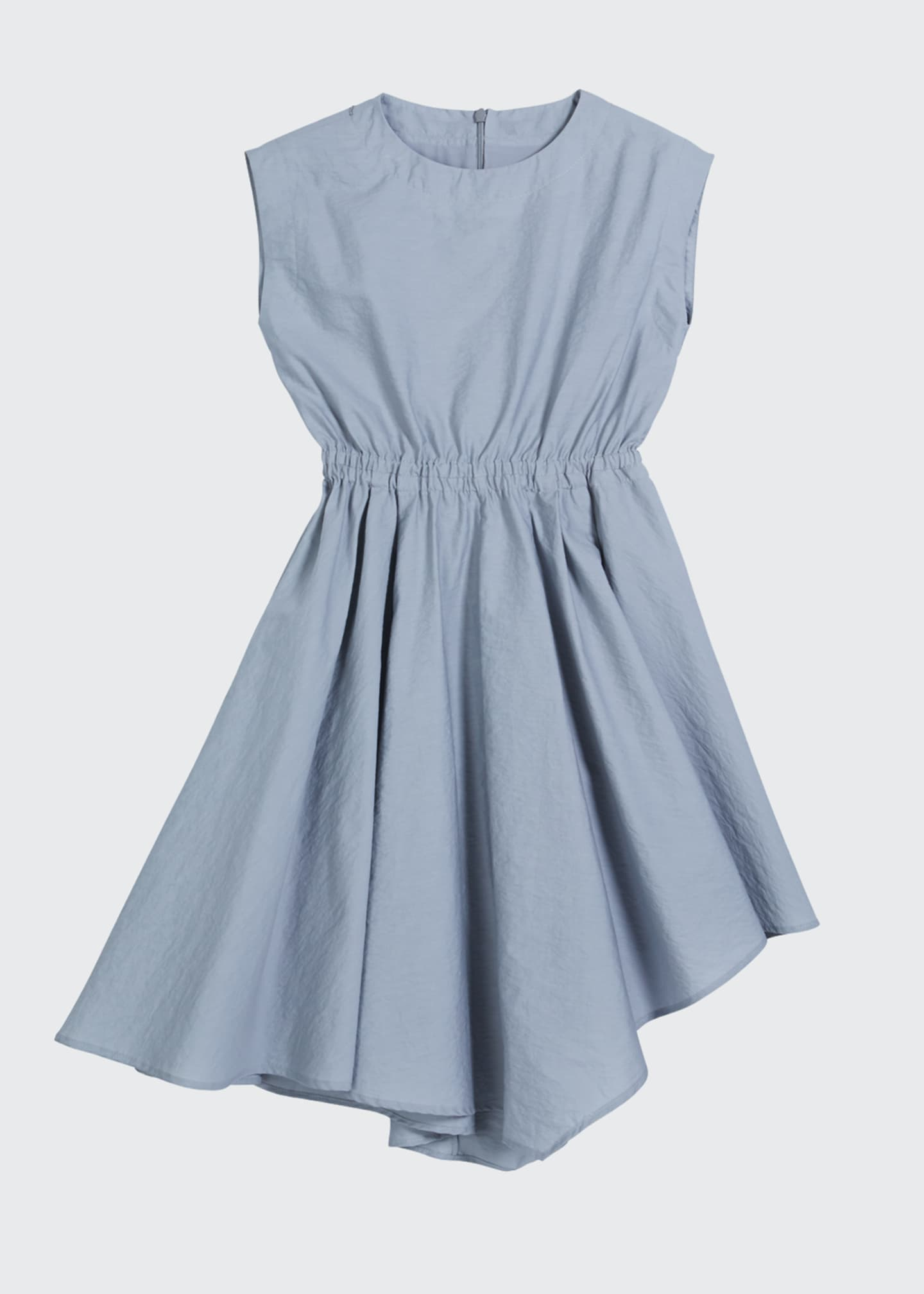 Image 1 of 3: Girl's Cinched-Waist Asymmetrical Poplin Dress, Size 4-6