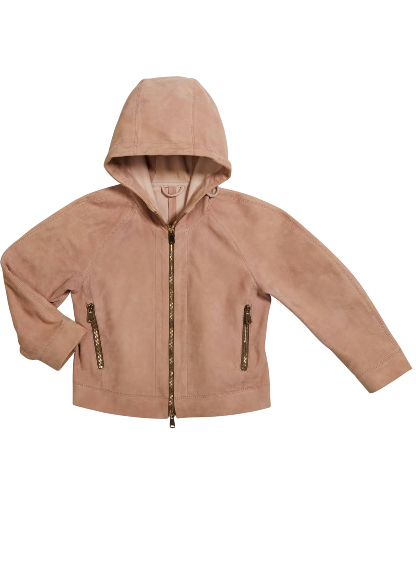 Image 1 of 1: Girl's Hooded Suede Jacket, Size 12-14