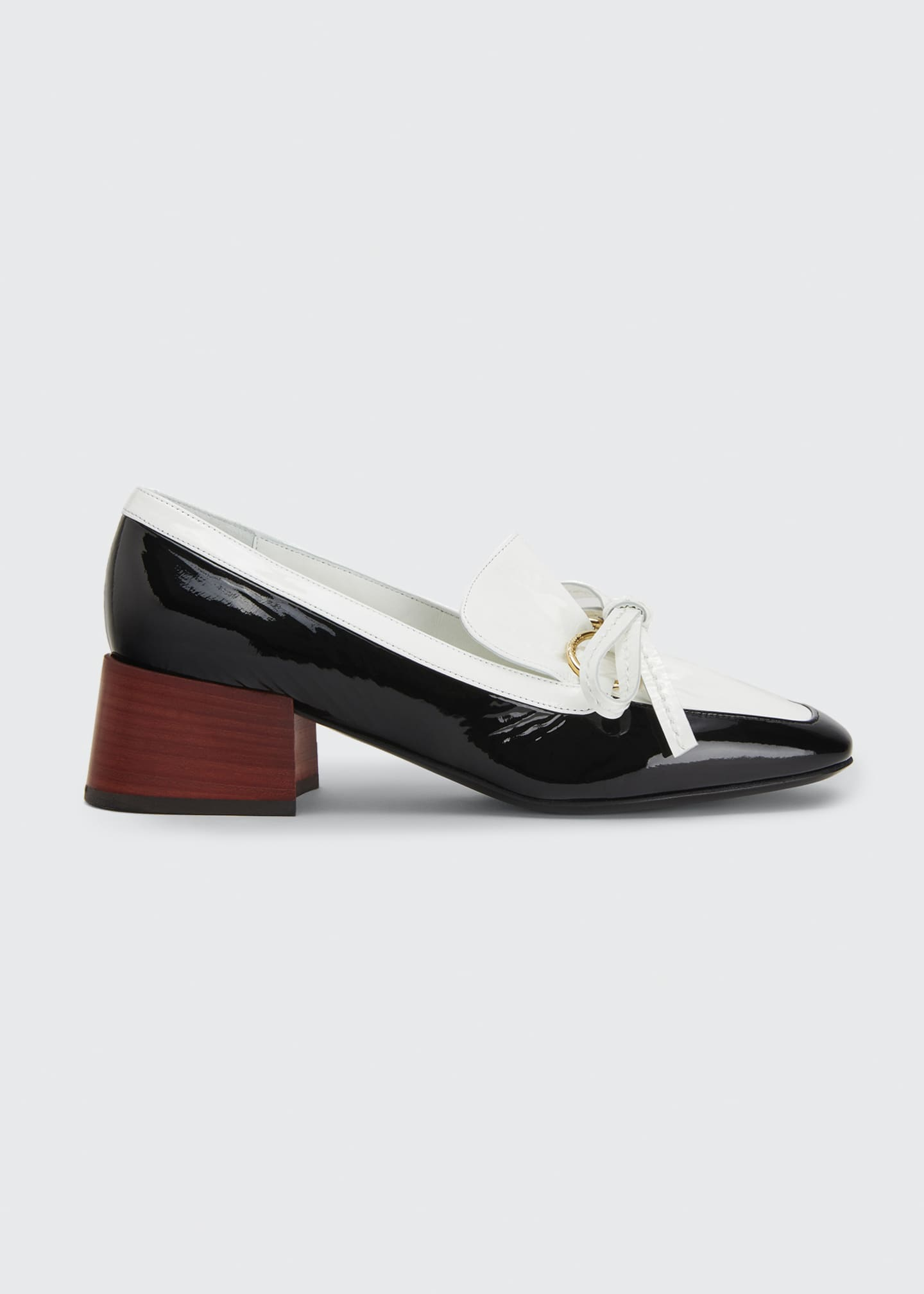 Image 1 of 2: Two-Tone Leather Bow Loafers
