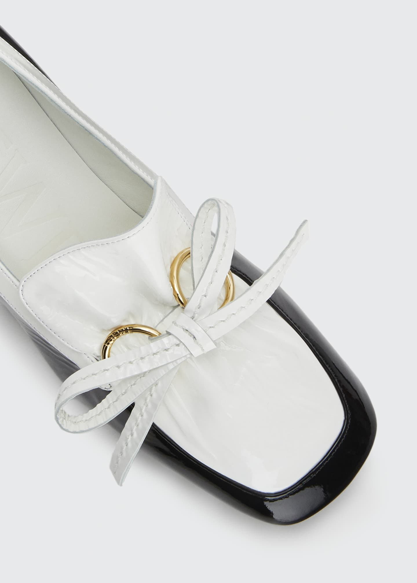 Image 2 of 2: Two-Tone Leather Bow Loafers