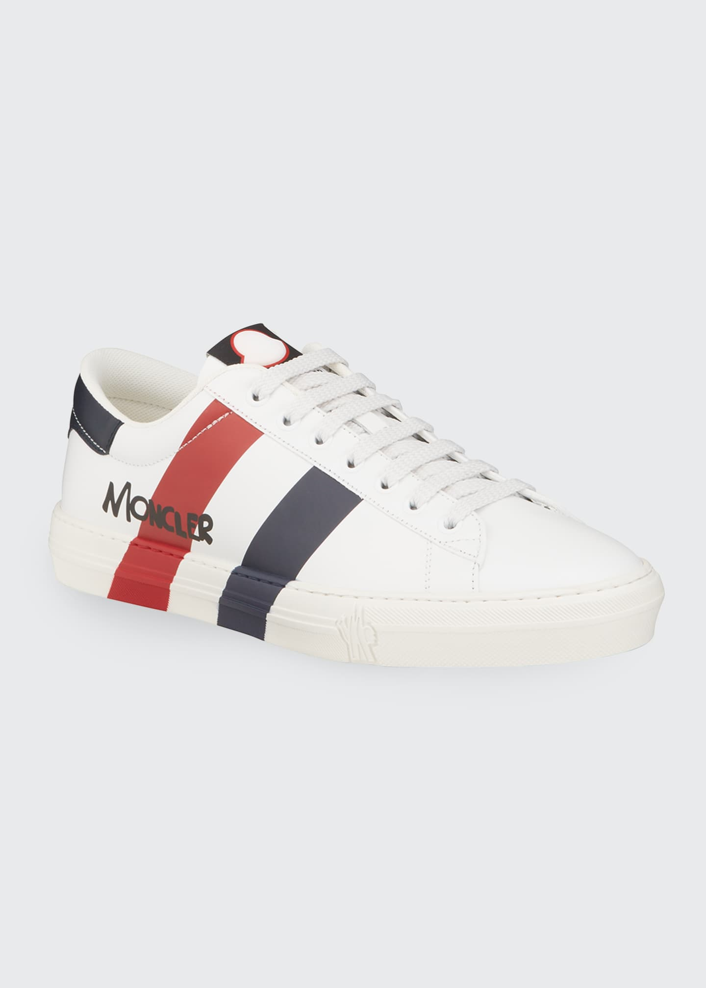Image 1 of 4: Men's Signature Stripe Leather Low-Top Sneakers