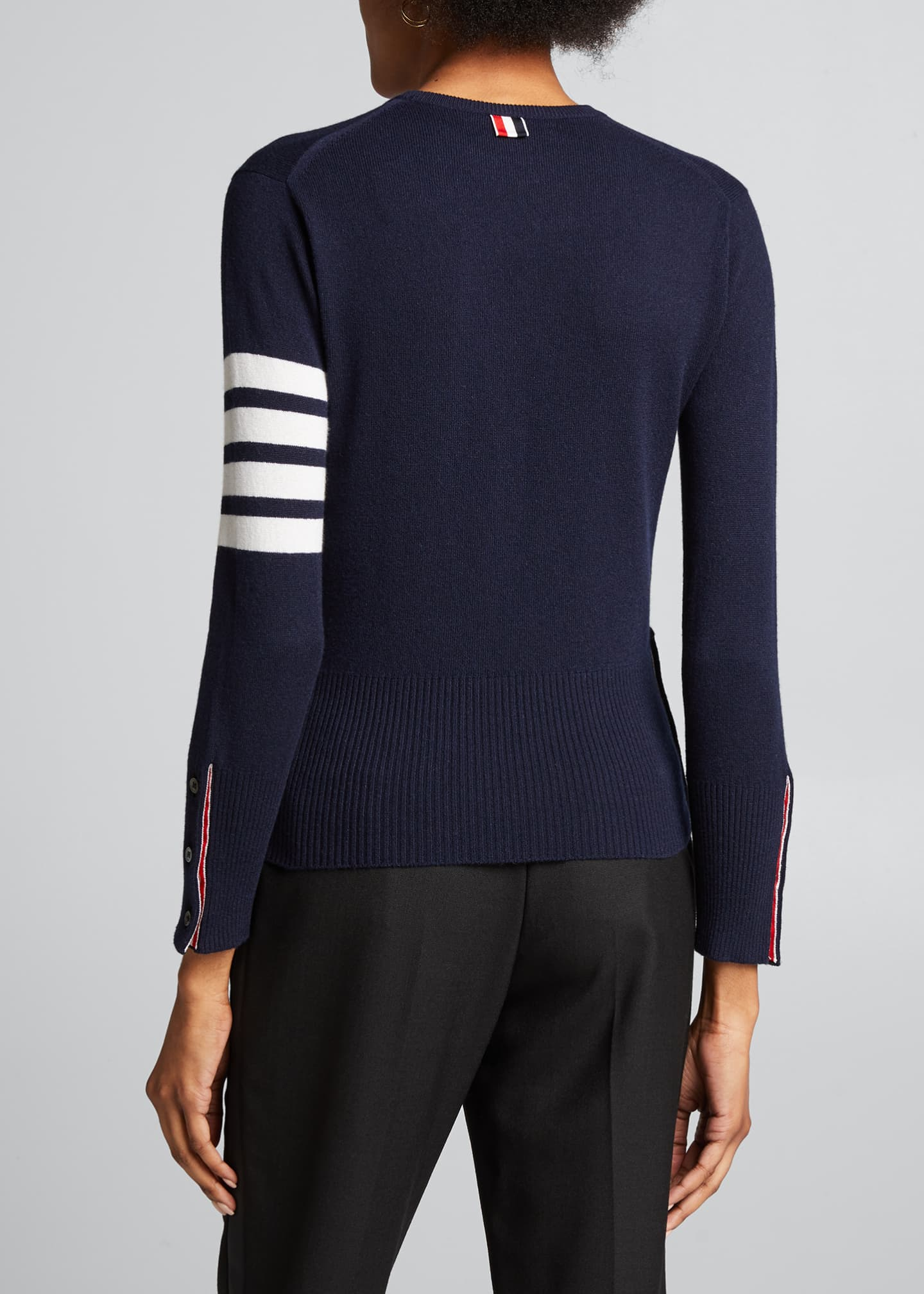 Image 2 of 5: Classic Cashmere Pullover with 4-Bar Stripes