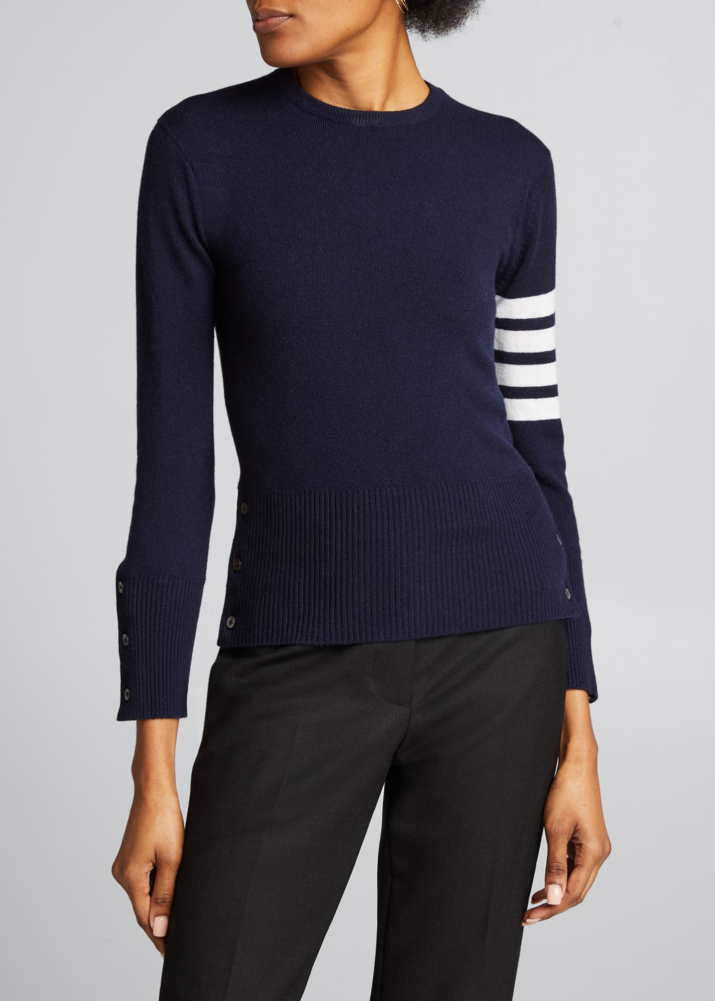 Image 3 of 5: Classic Cashmere Pullover with 4-Bar Stripes