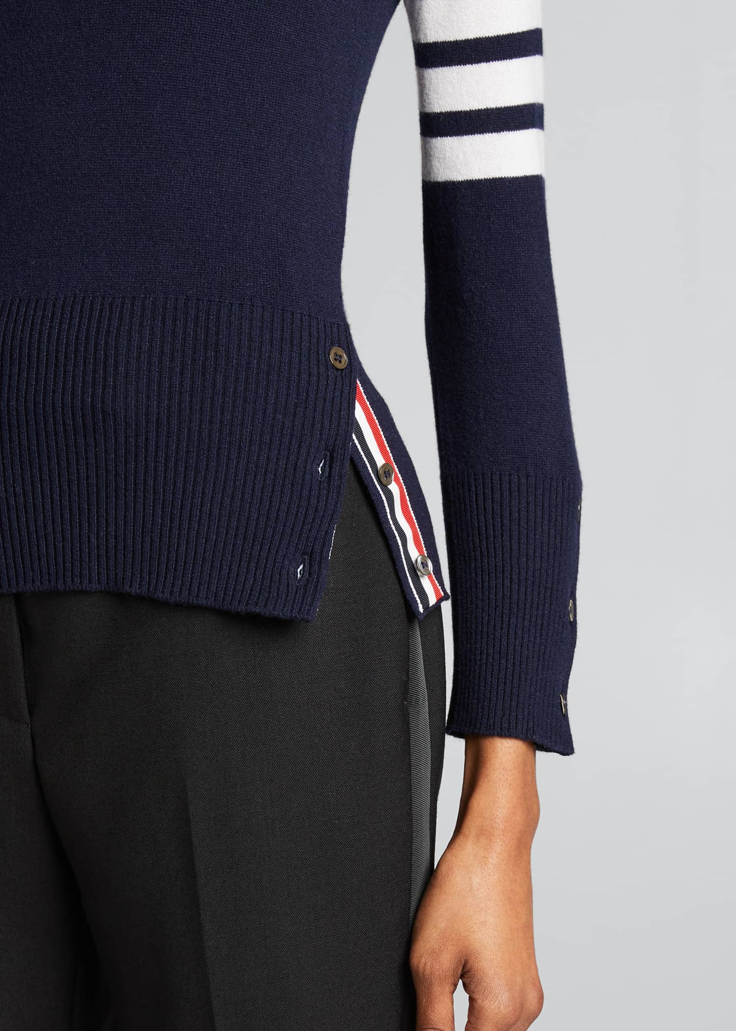 Image 4 of 5: Classic Cashmere Pullover with 4-Bar Stripes