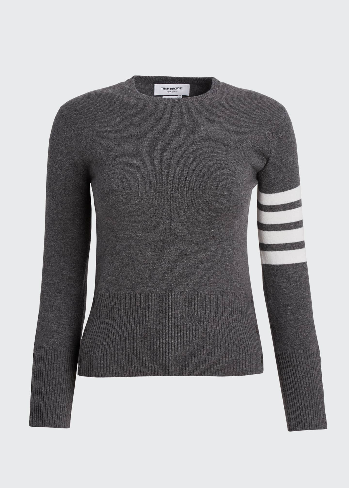 Image 5 of 5: Classic Cashmere Pullover with 4-Bar Stripes