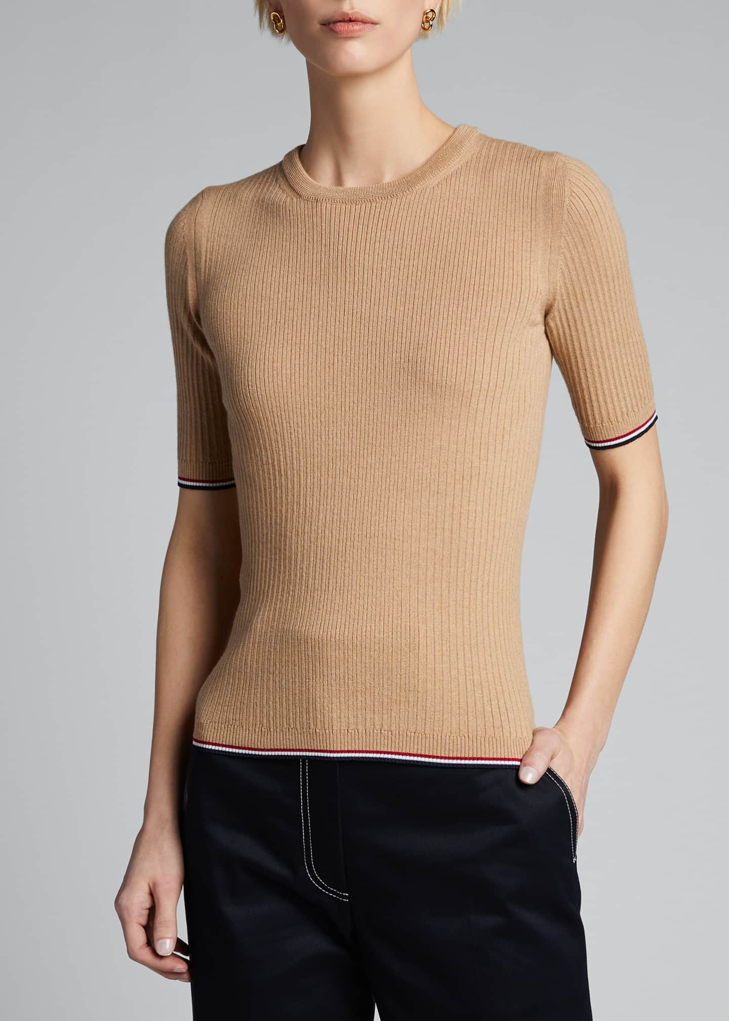 Image 3 of 5: Milano 1/2-Sleeve Ribbed Sweater
