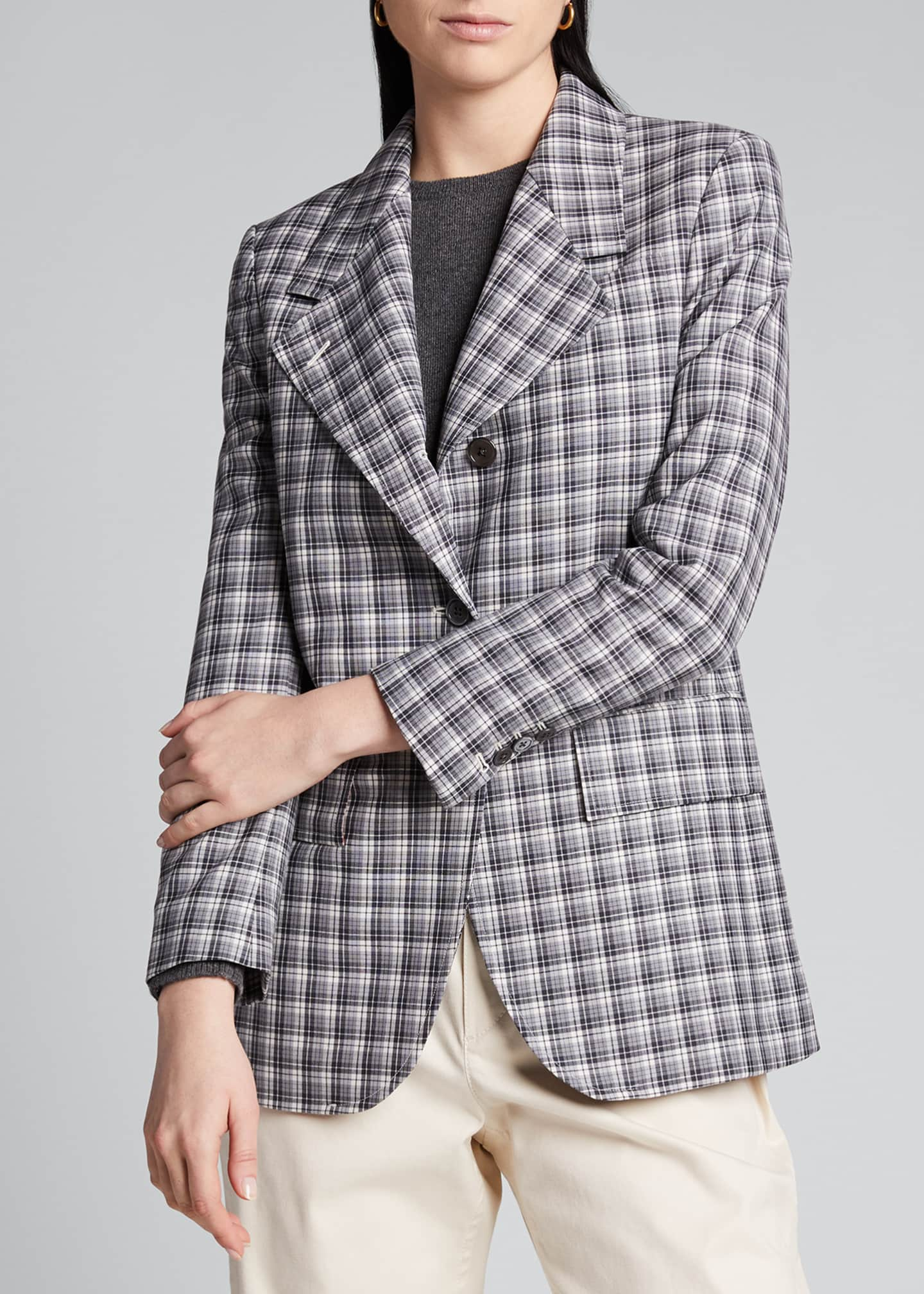 Image 3 of 5: Buffalo-Checked Wide-Lapel Suiting Jacket