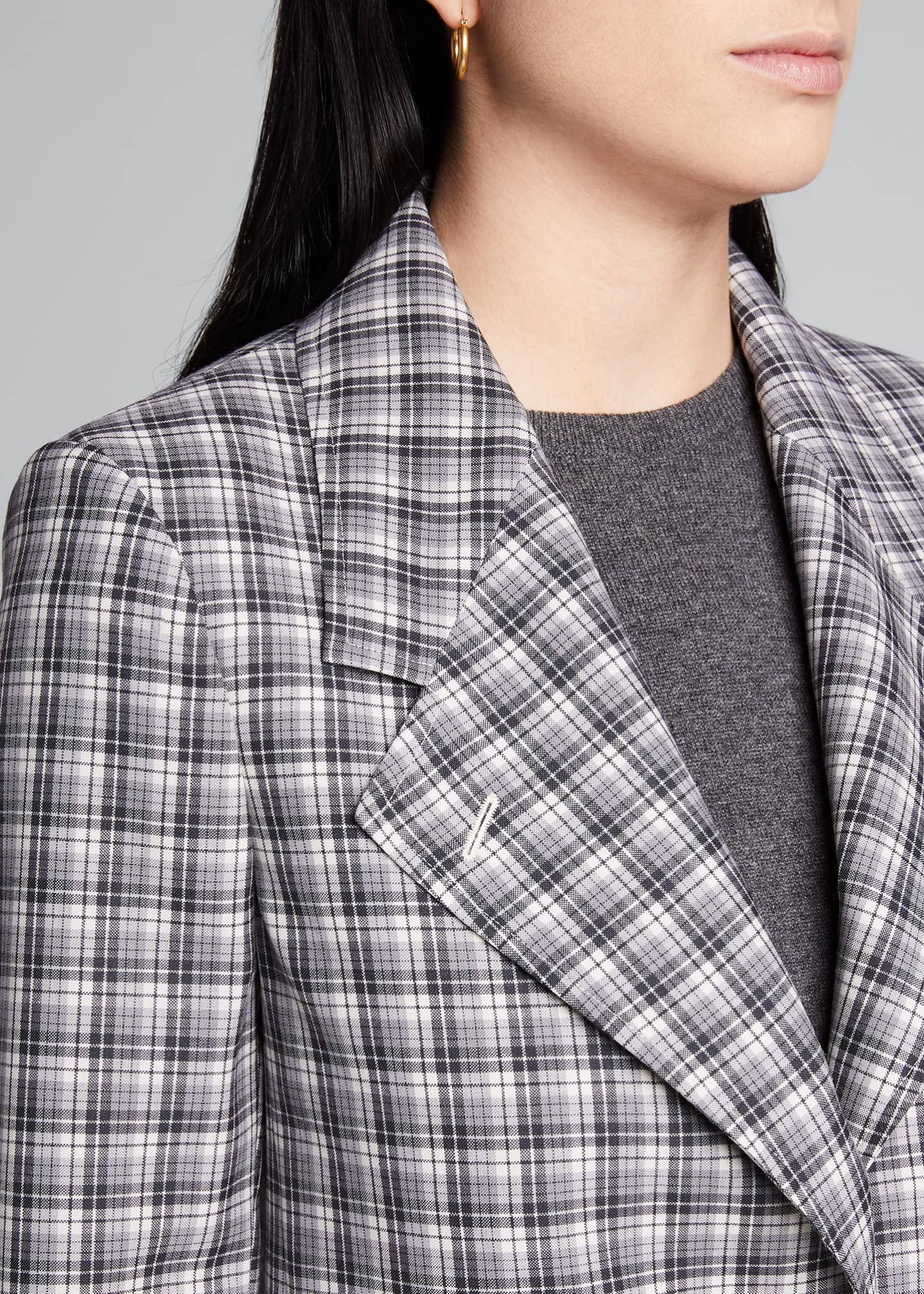 Image 4 of 5: Buffalo-Checked Wide-Lapel Suiting Jacket