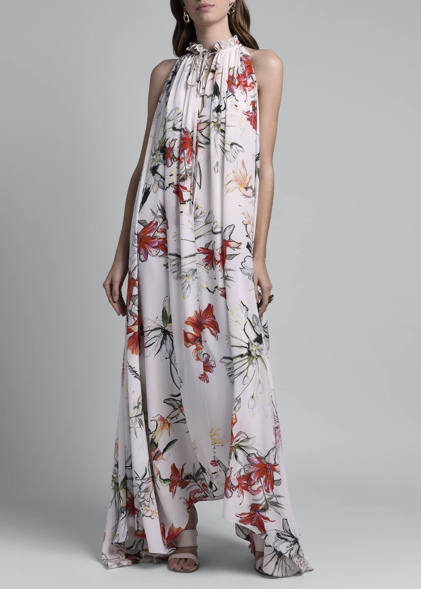Image 3 of 4: Floral Print Halter Dress