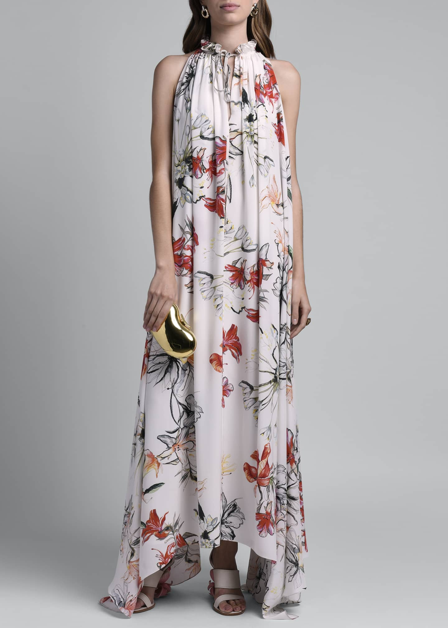 Image 1 of 4: Floral Print Halter Dress