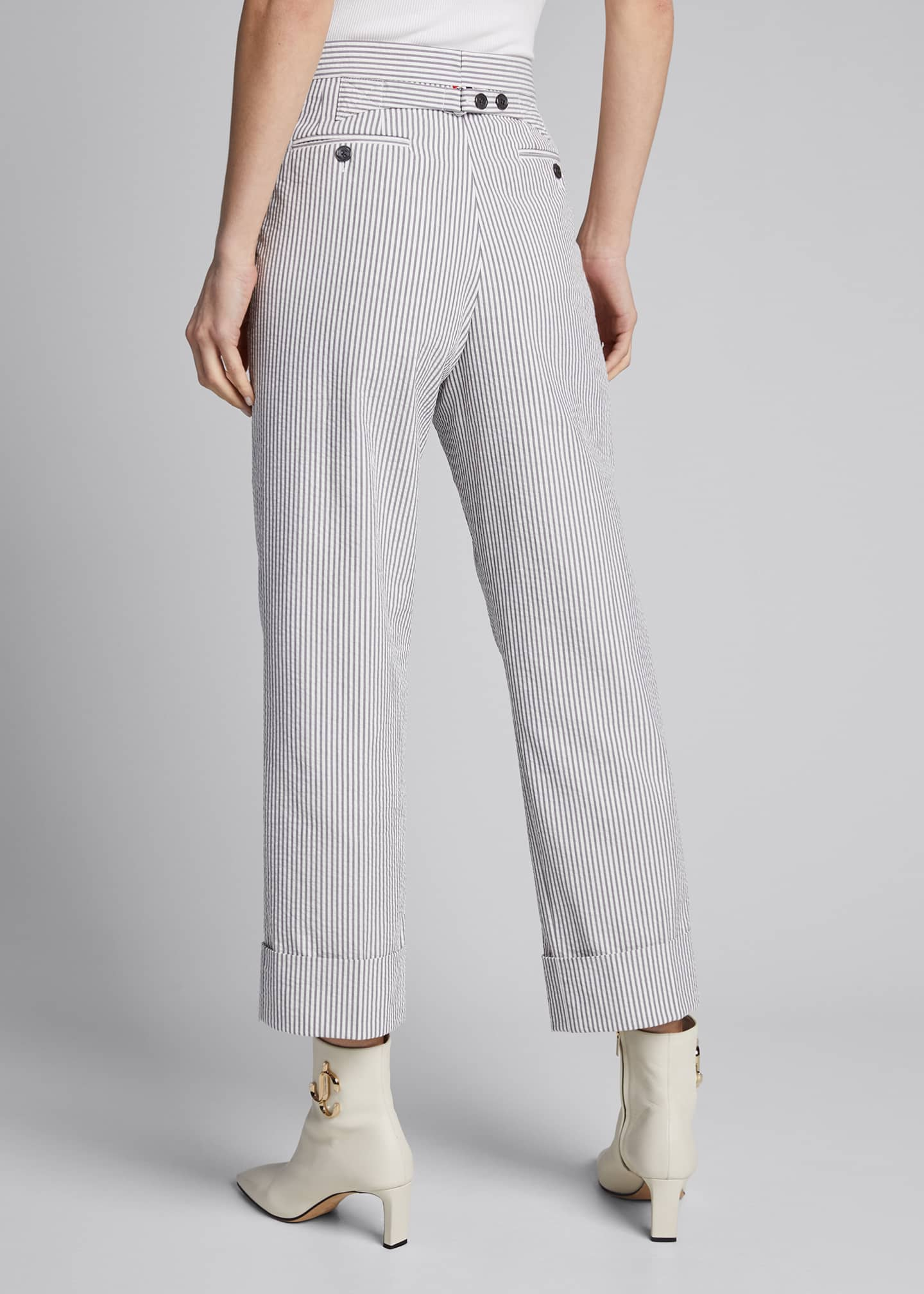 Image 2 of 5: Menswear-Fit Seersucker Trousers