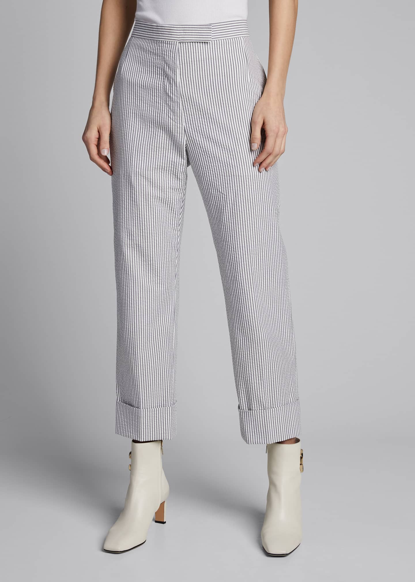 Image 3 of 5: Menswear-Fit Seersucker Trousers