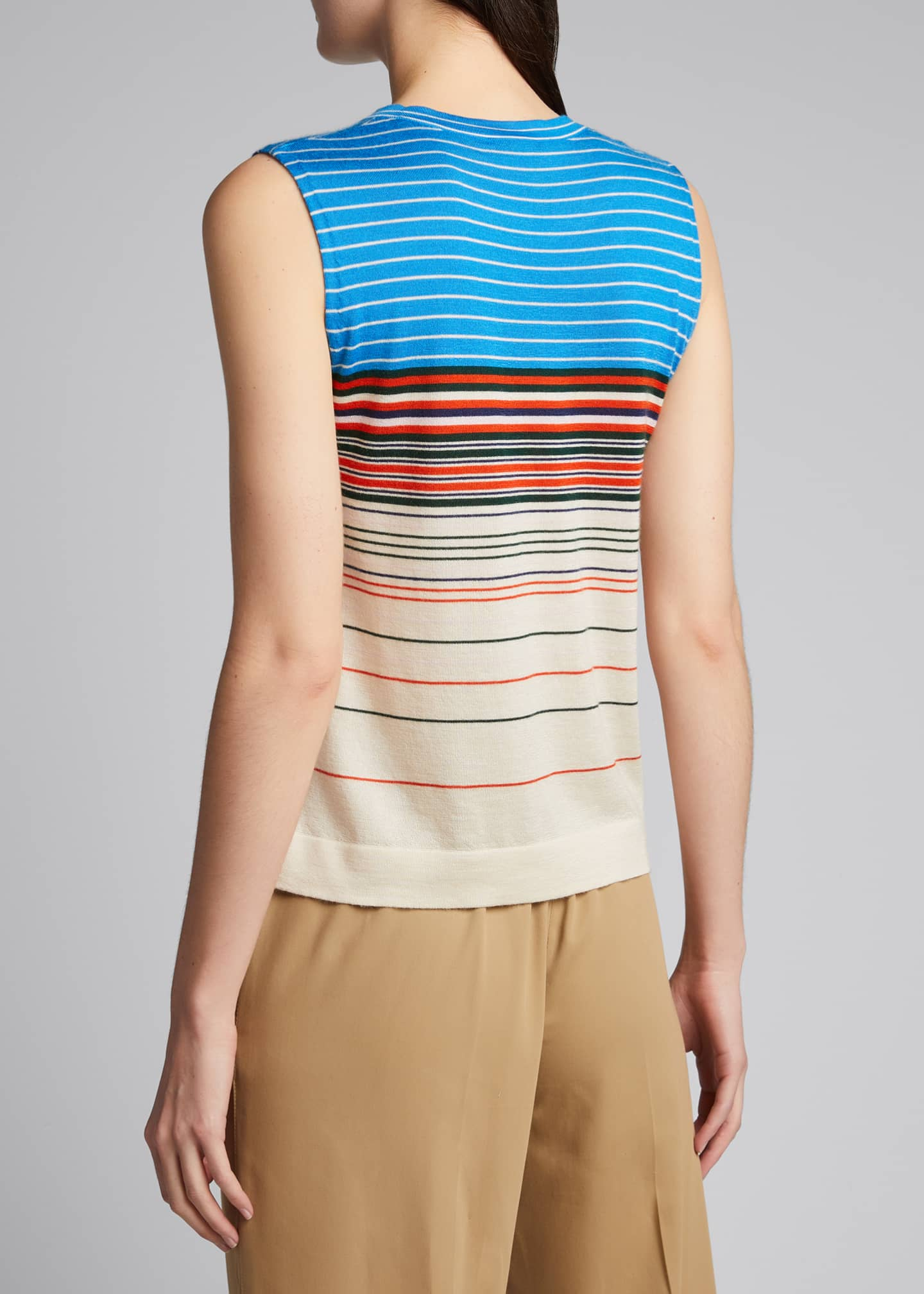 Image 2 of 5: Horizontal Stripe Cashmere Tank