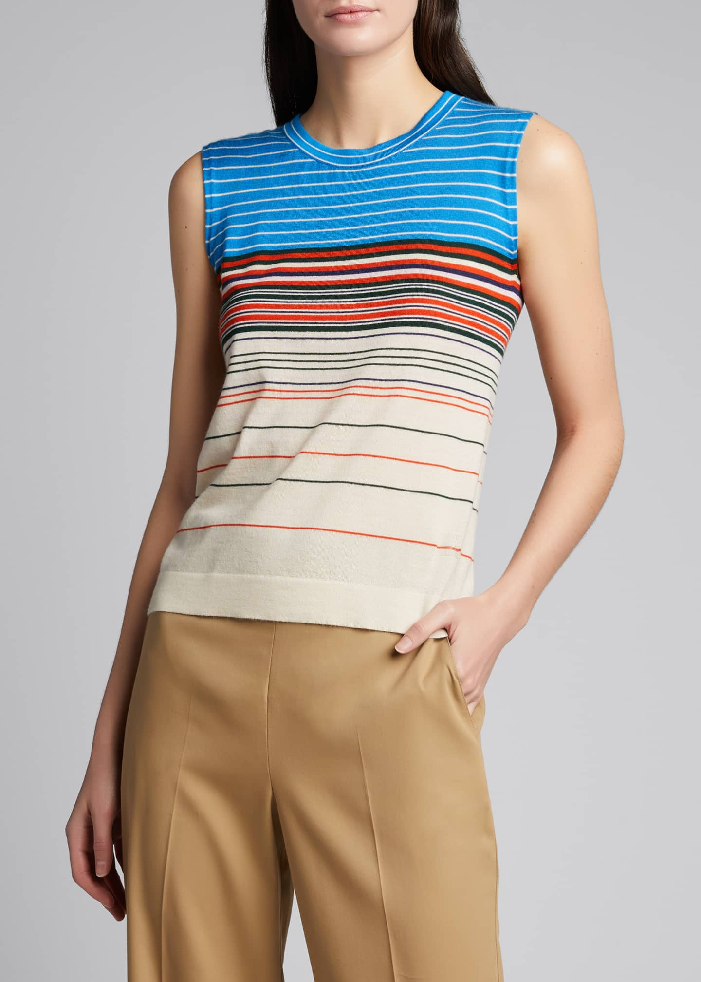 Image 3 of 5: Horizontal Stripe Cashmere Tank