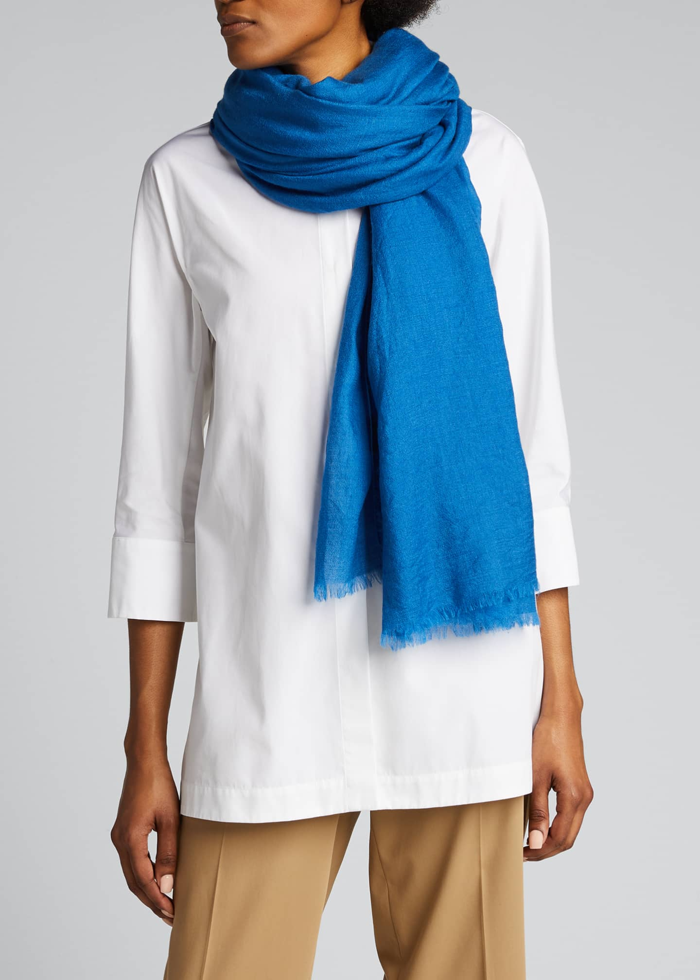 Image 3 of 4: Cashmere/Silk Scarf with Fringe