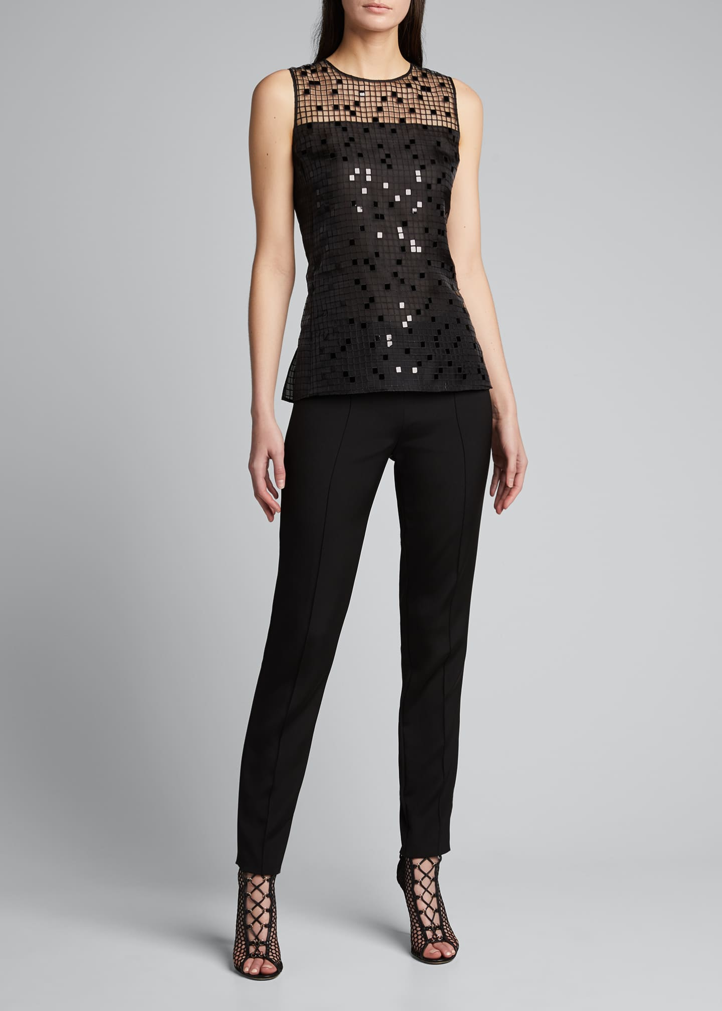 Image 1 of 4: Sequin Embroidered Mesh Sleeveless Blouse