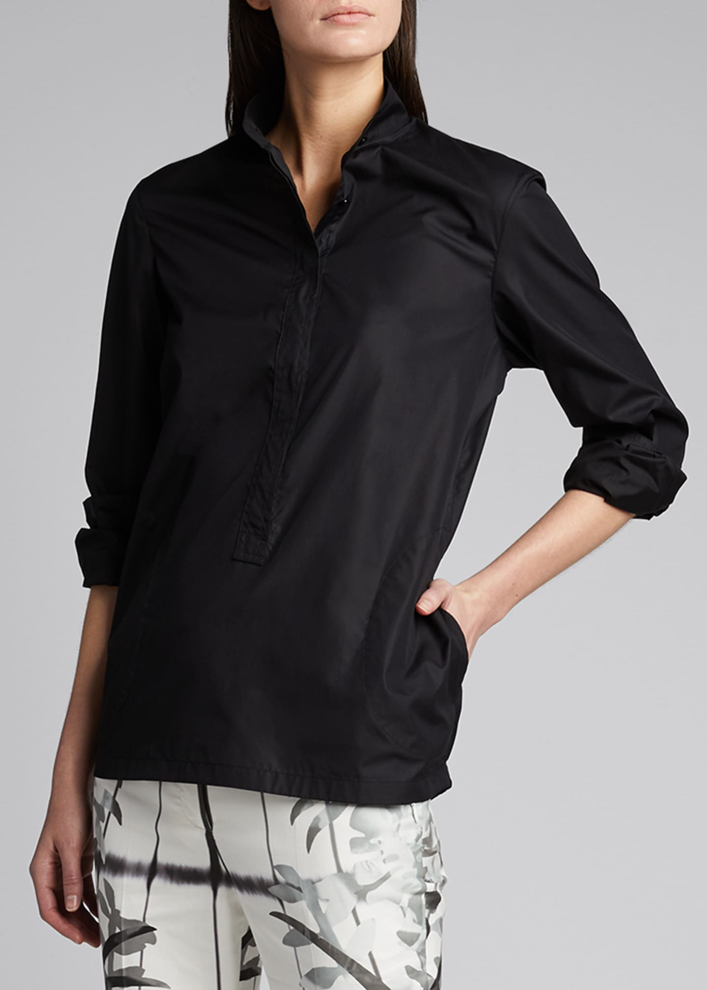 Image 1 of 5: Oversized Half-Button Cotton Shirt