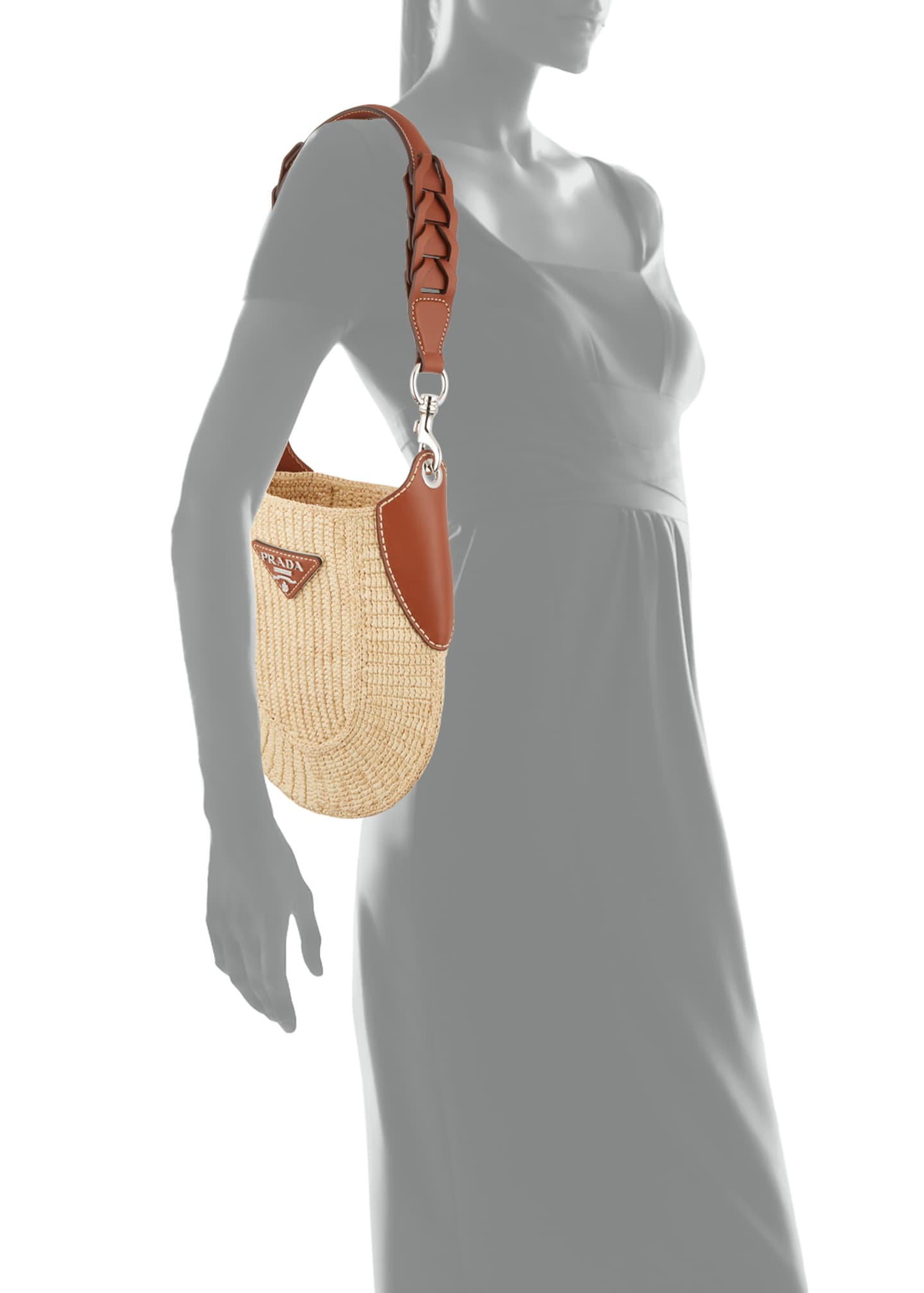 Image 4 of 4: Small Raffia Hobo Bag
