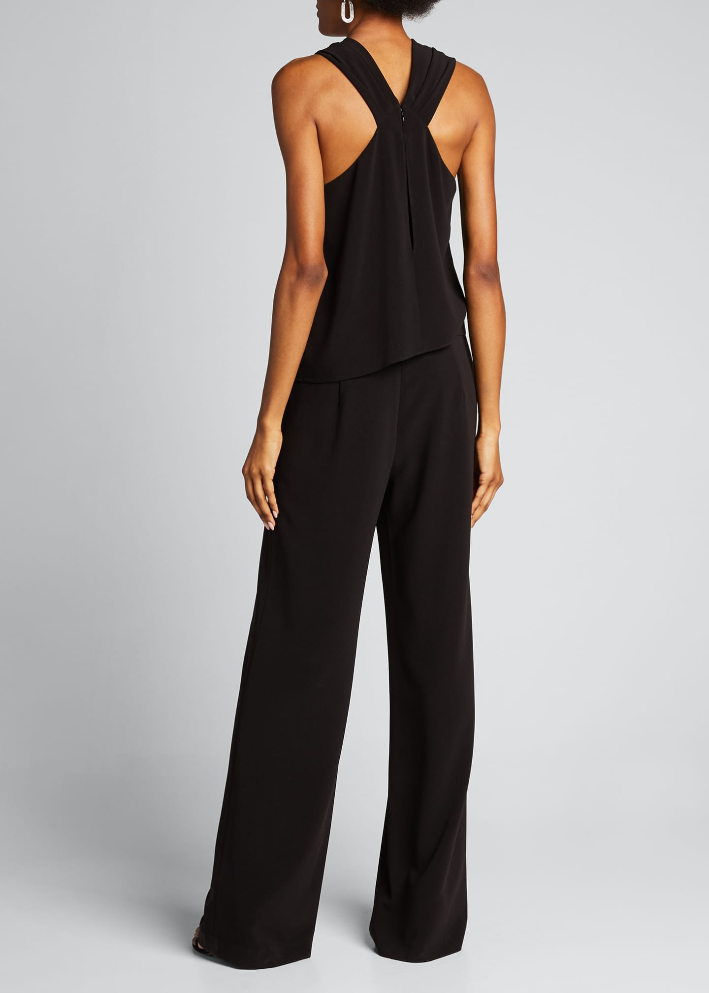 Image 2 of 5: Wrap-Neck Stretch Moss Crepe Halter Jumpsuit