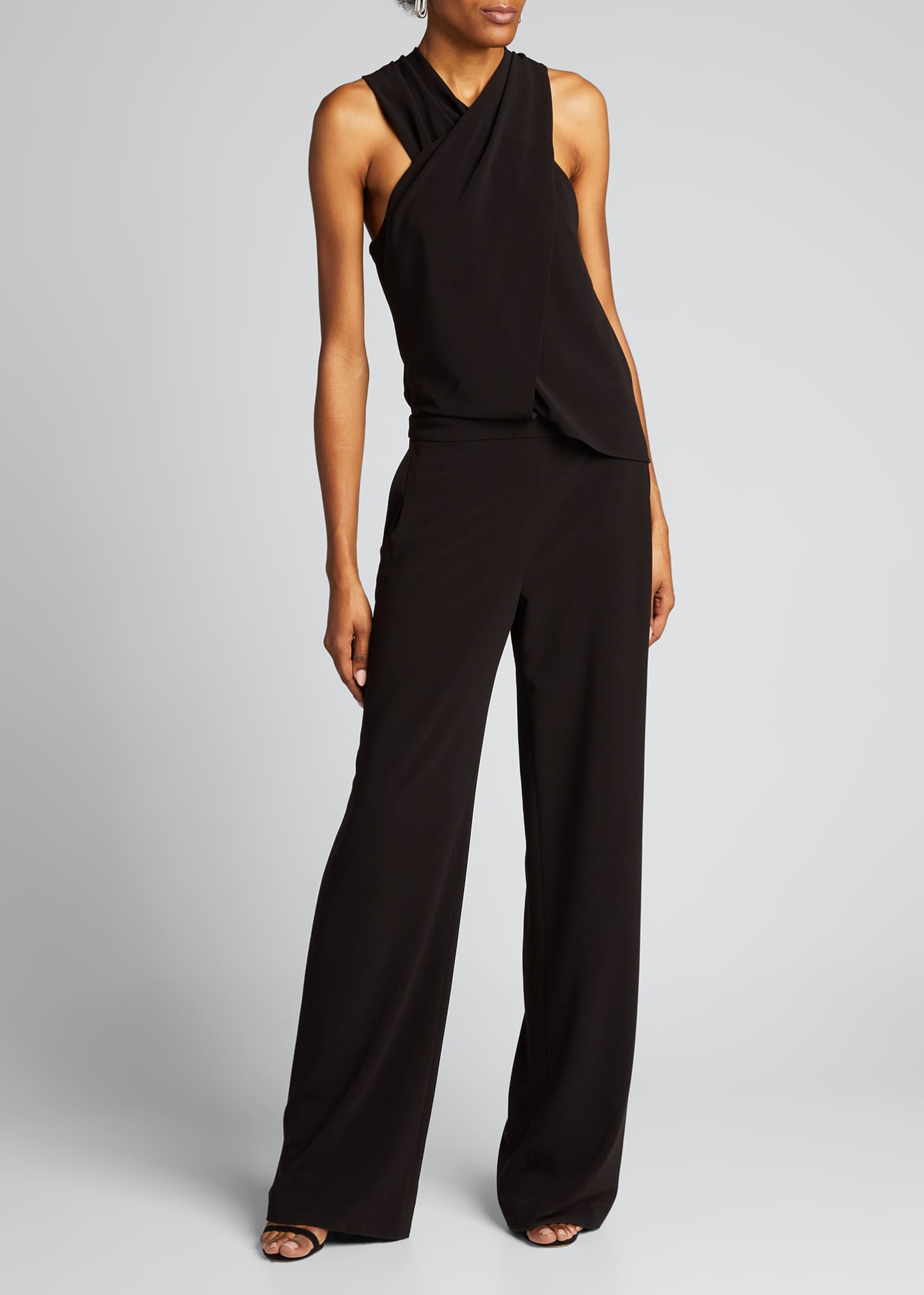 Image 3 of 5: Wrap-Neck Stretch Moss Crepe Halter Jumpsuit
