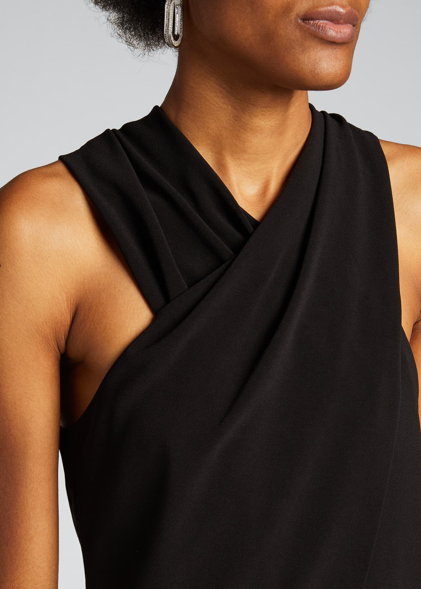 Image 4 of 5: Wrap-Neck Stretch Moss Crepe Halter Jumpsuit