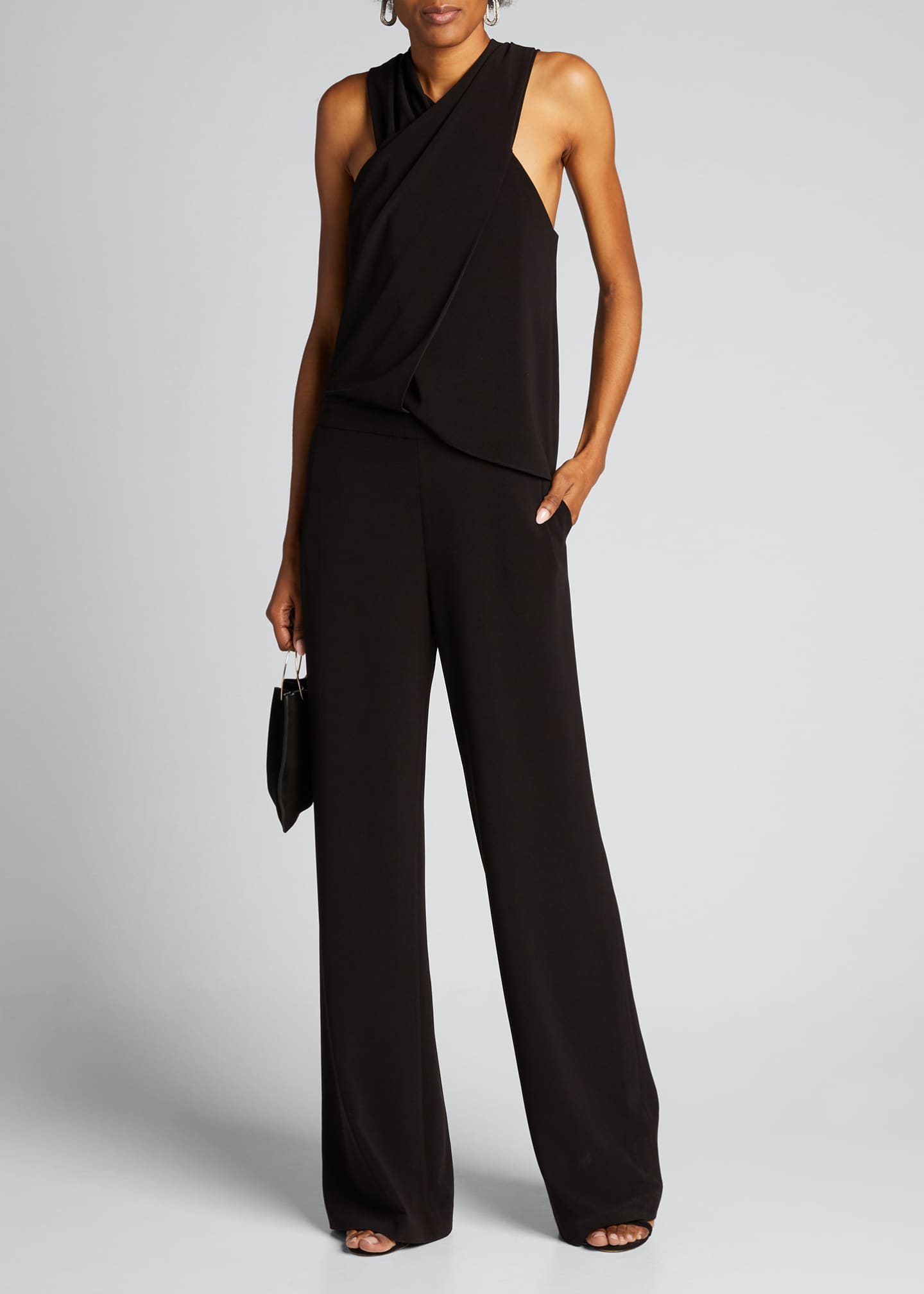 Image 1 of 5: Wrap-Neck Stretch Moss Crepe Halter Jumpsuit