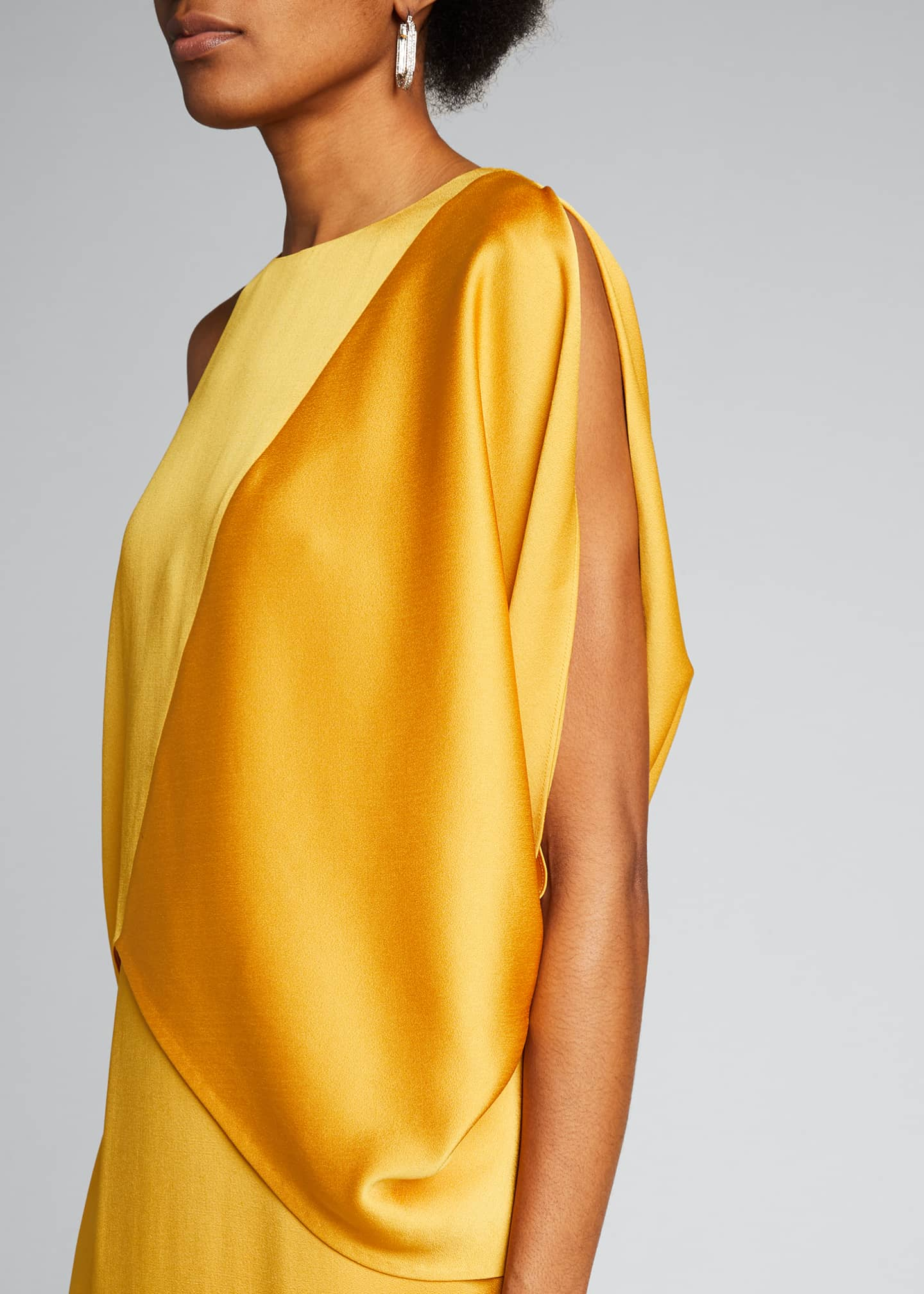 Image 4 of 5: Dramatic Satin Drape Asymmetrical Pebble Crepe Gown