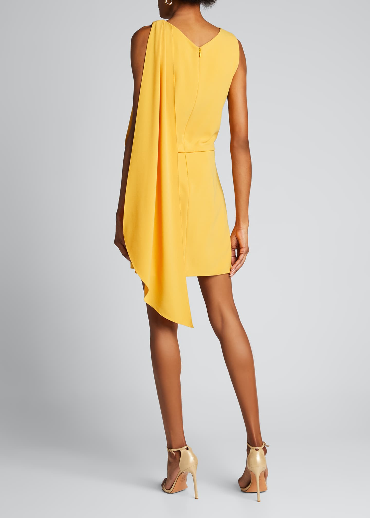 Image 2 of 5: Asymmetric Shoulder Drape Stretch Moss Crepe Dress