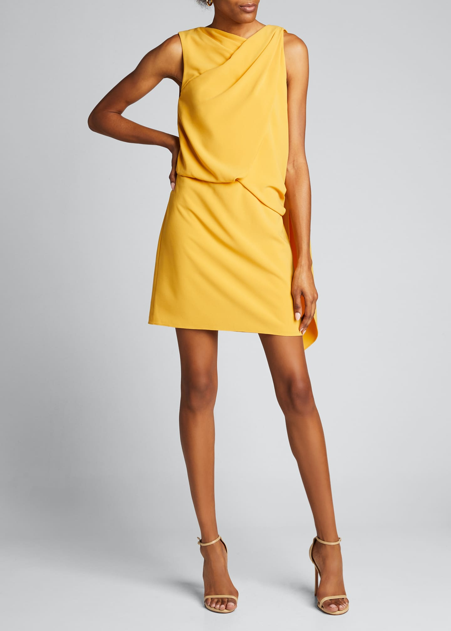 Image 3 of 5: Asymmetric Shoulder Drape Stretch Moss Crepe Dress