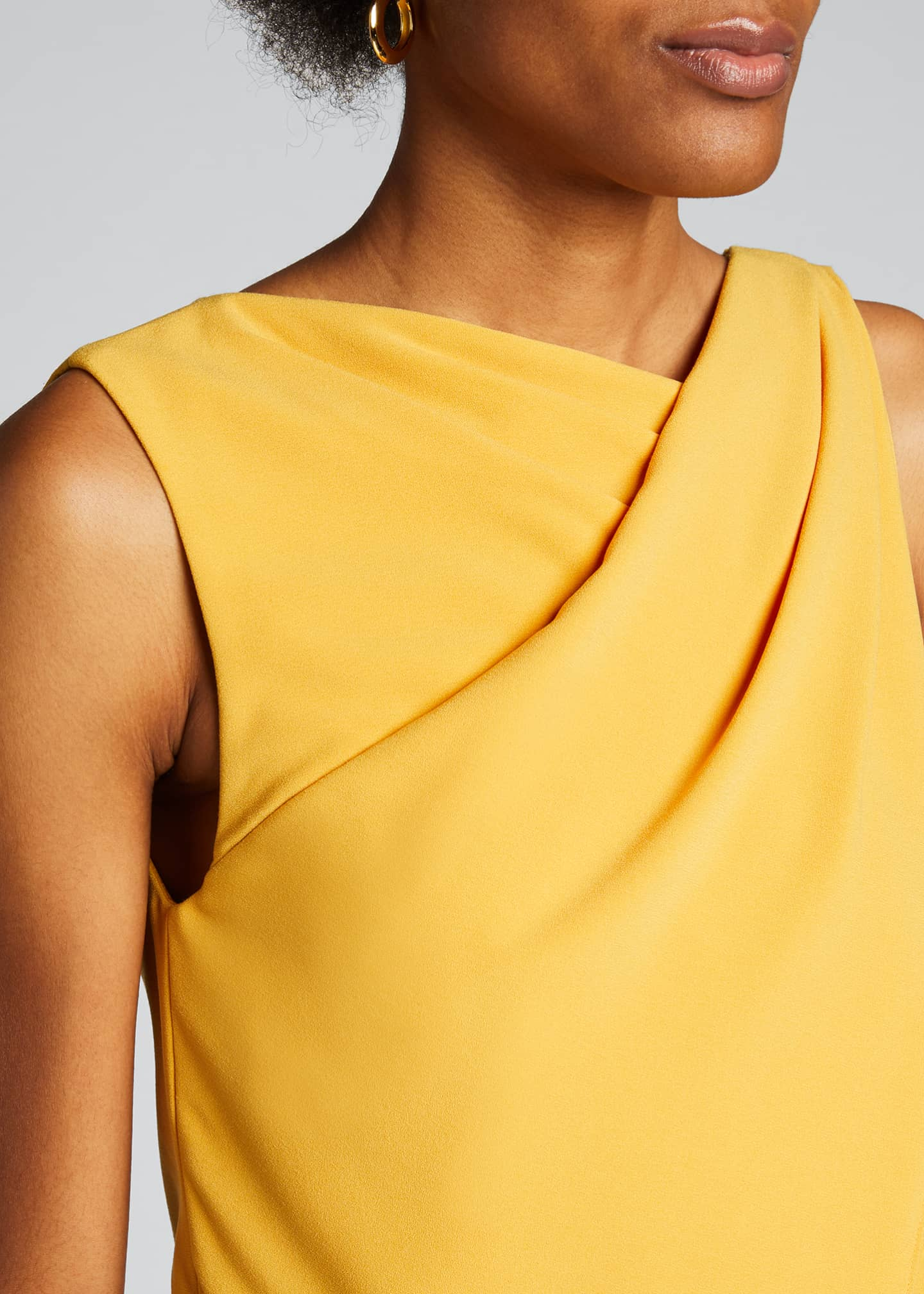 Image 4 of 5: Asymmetric Shoulder Drape Stretch Moss Crepe Dress