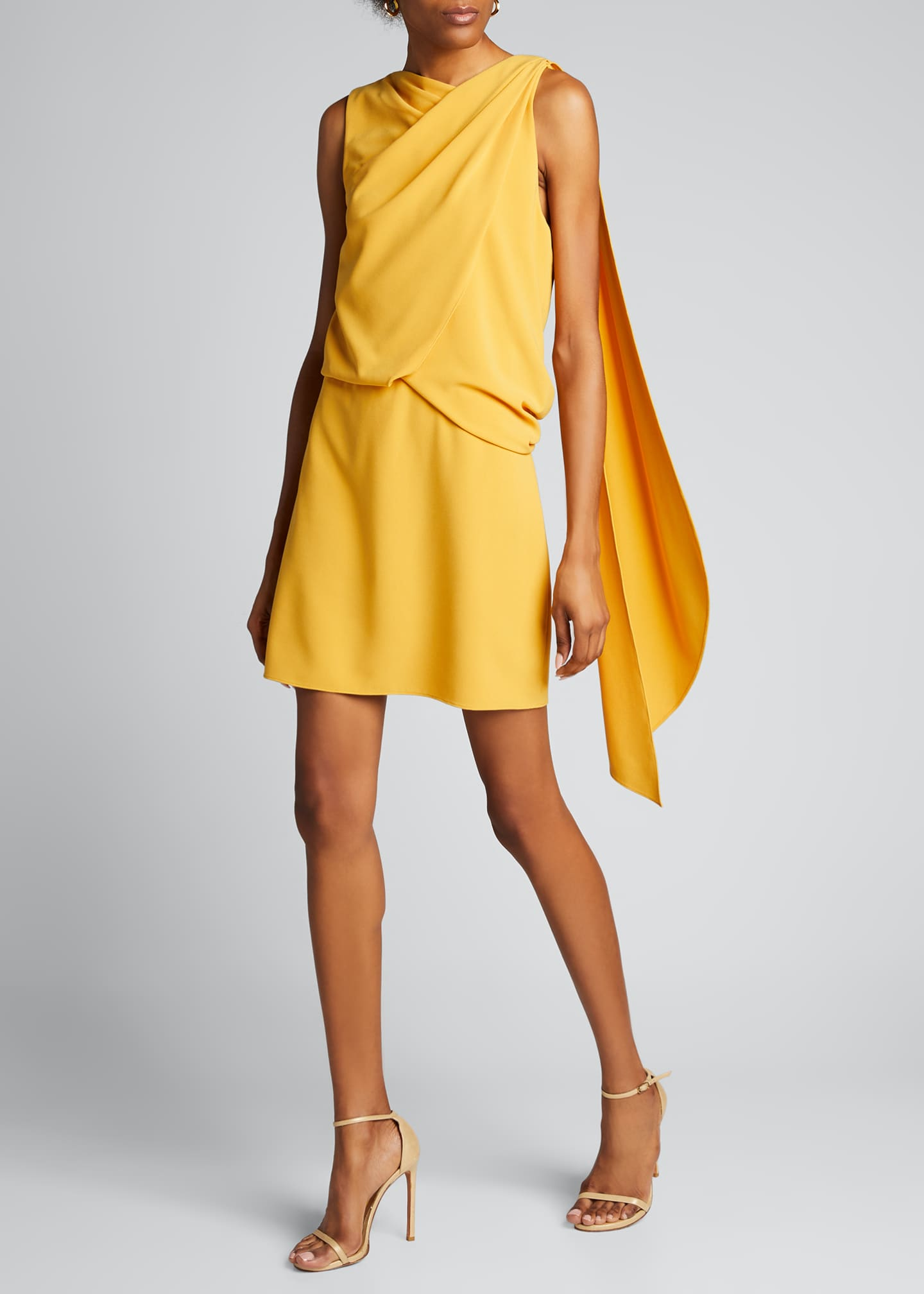 Image 1 of 5: Asymmetric Shoulder Drape Stretch Moss Crepe Dress