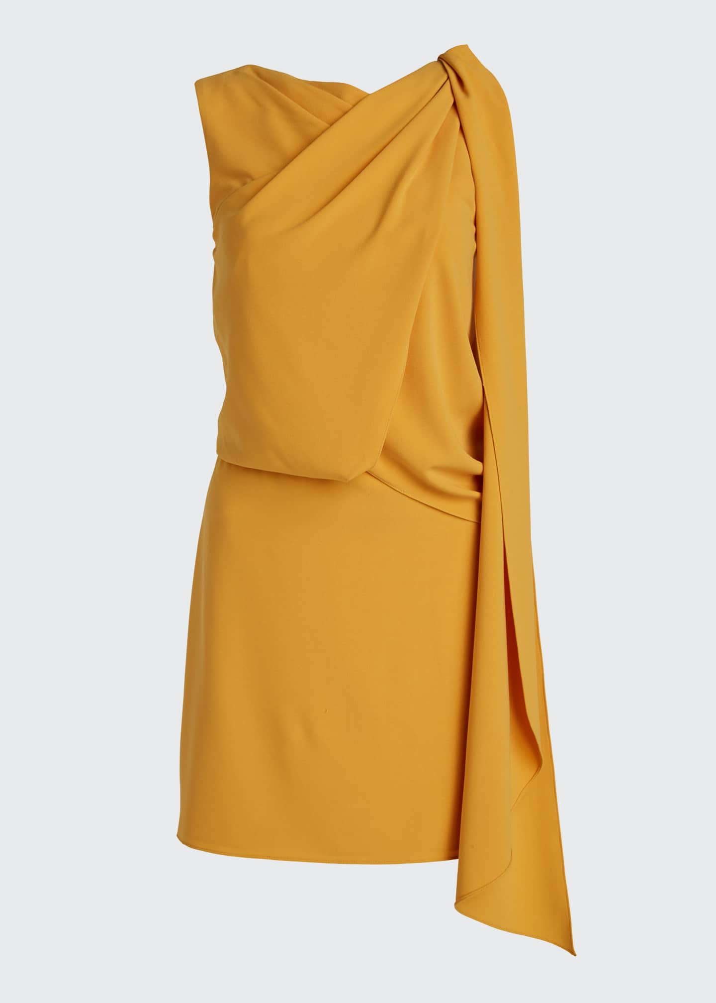 Image 5 of 5: Asymmetric Shoulder Drape Stretch Moss Crepe Dress