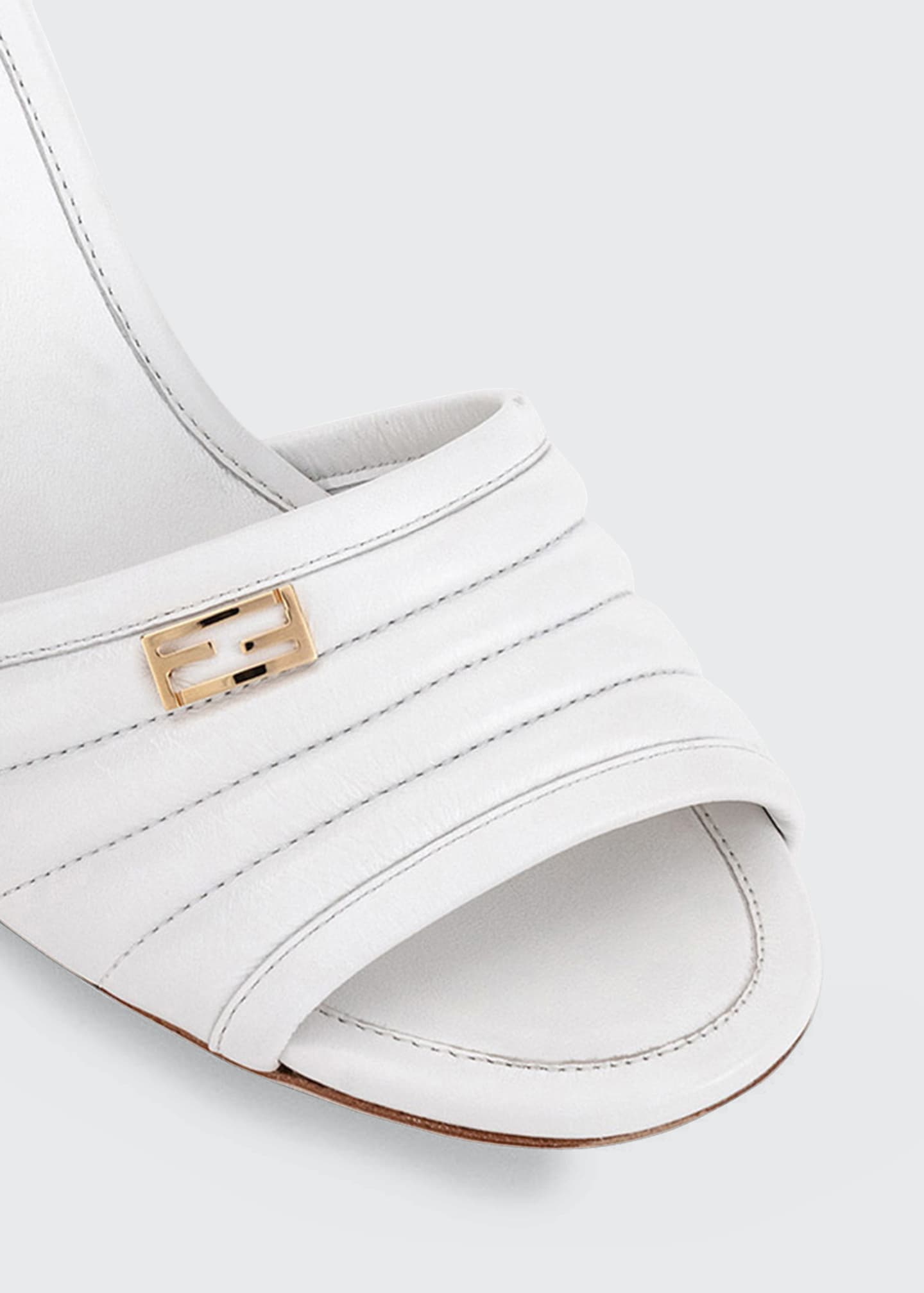 Image 3 of 3: 65mm Stitched Leather Block-Heel Sandals