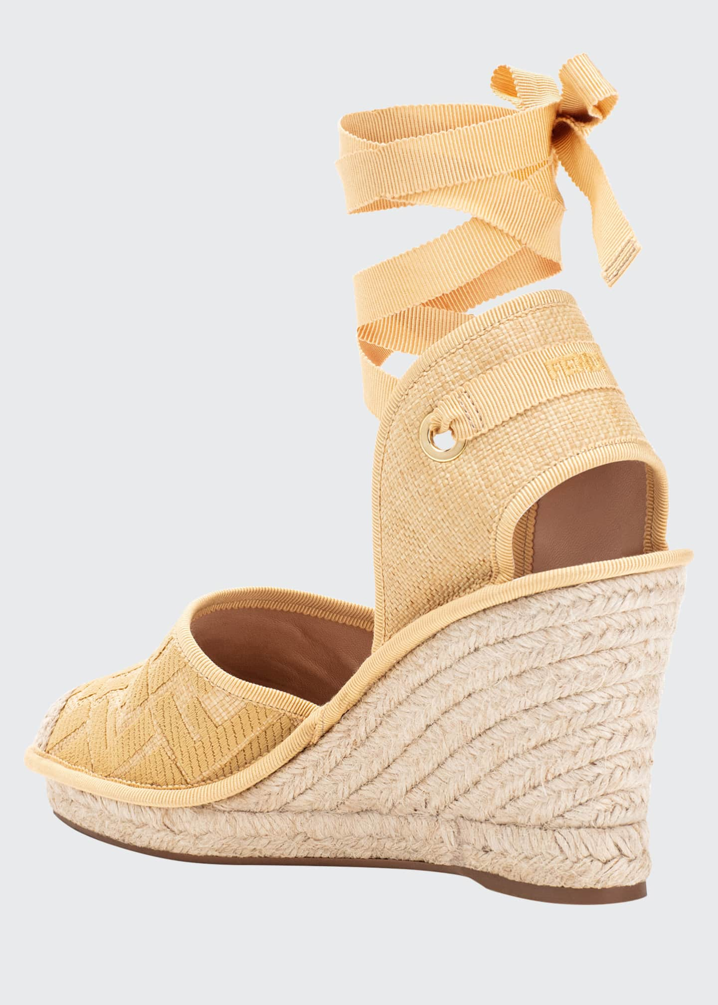 Image 2 of 2: FF Logo Ankle-Wrap Wedge Espadrilles