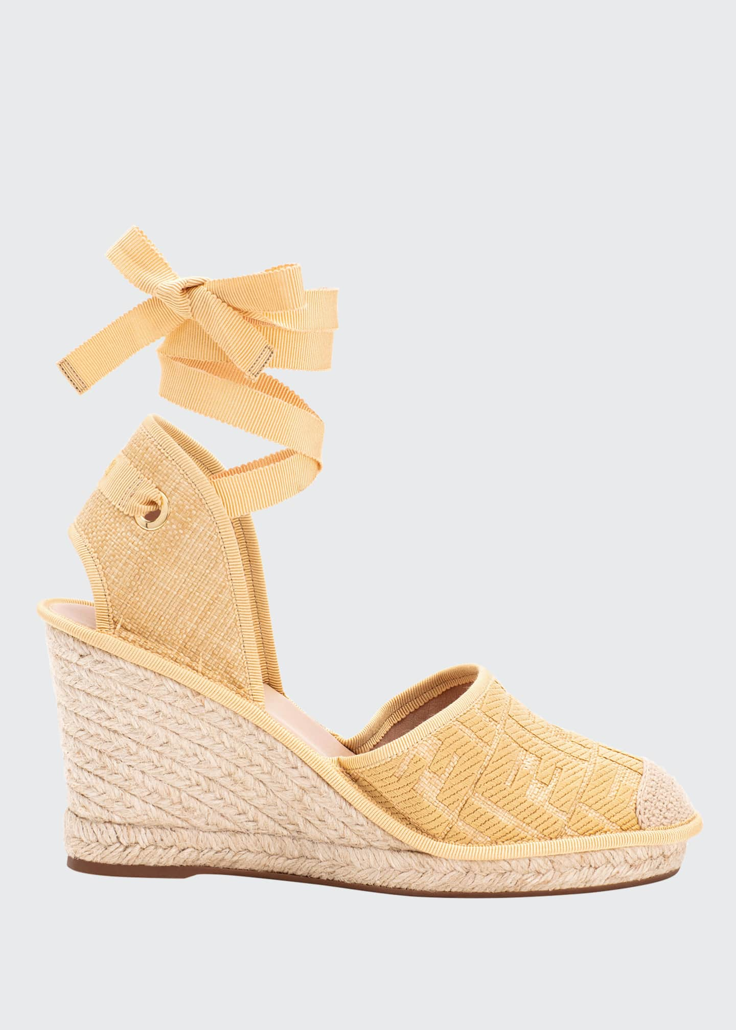 Image 1 of 2: FF Logo Ankle-Wrap Wedge Espadrilles