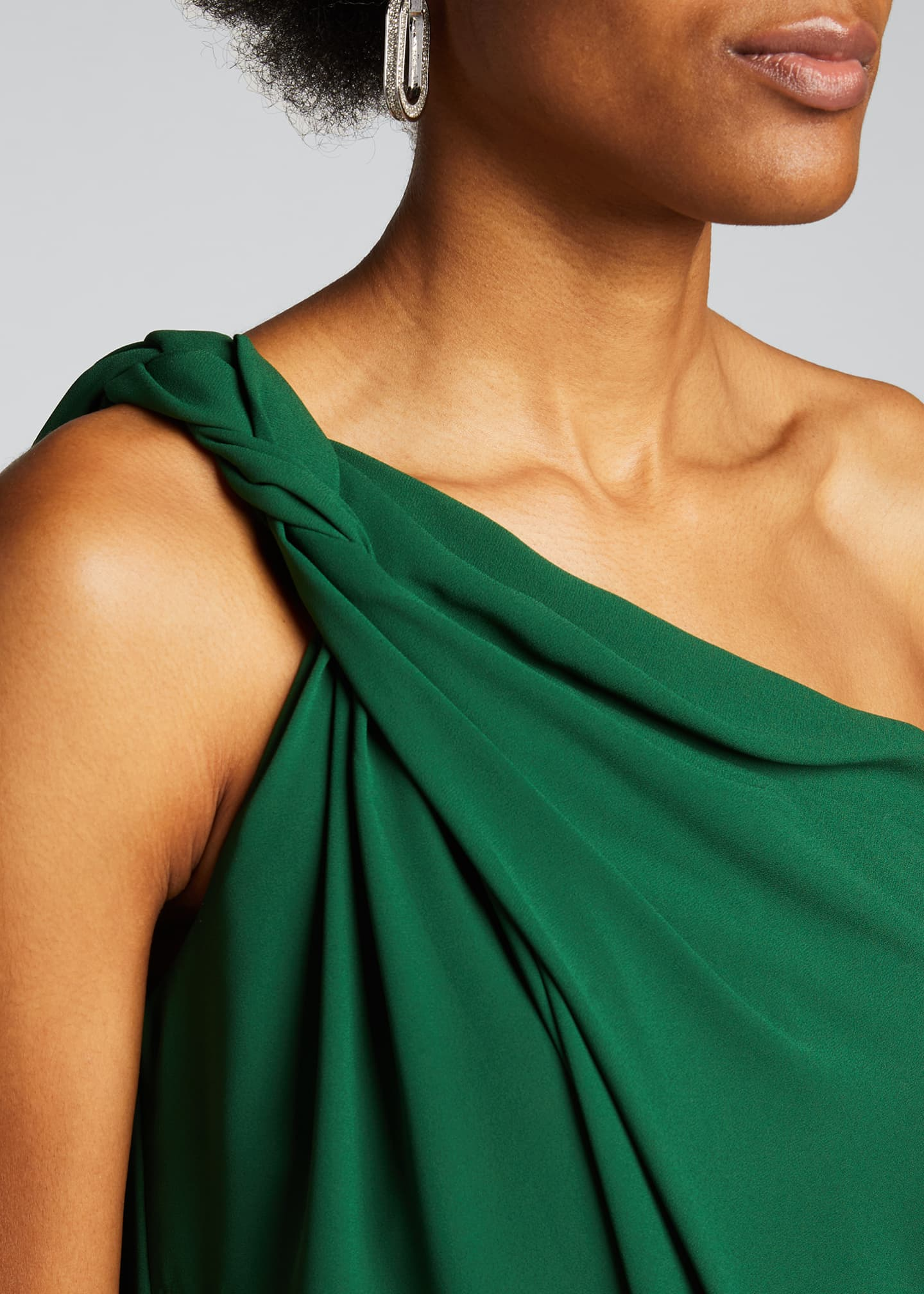 Image 4 of 5: Braided Strap One-Shoulder Silky Georgette Dress