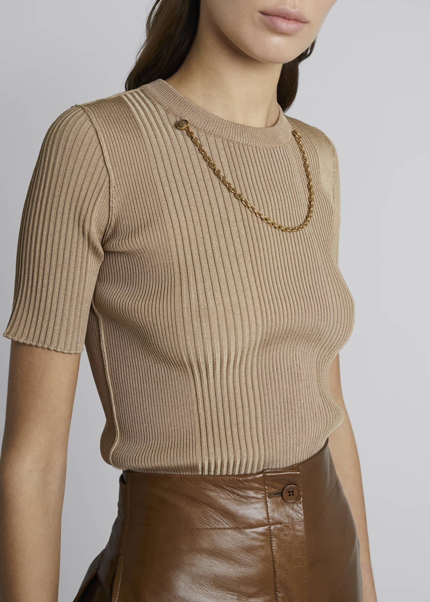 Image 4 of 4: Chain-Trim Knit Top
