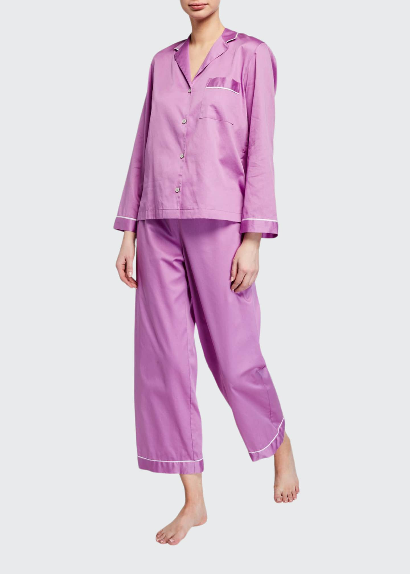 Image 1 of 2: Cotton Sateen Essentials Pajama Set