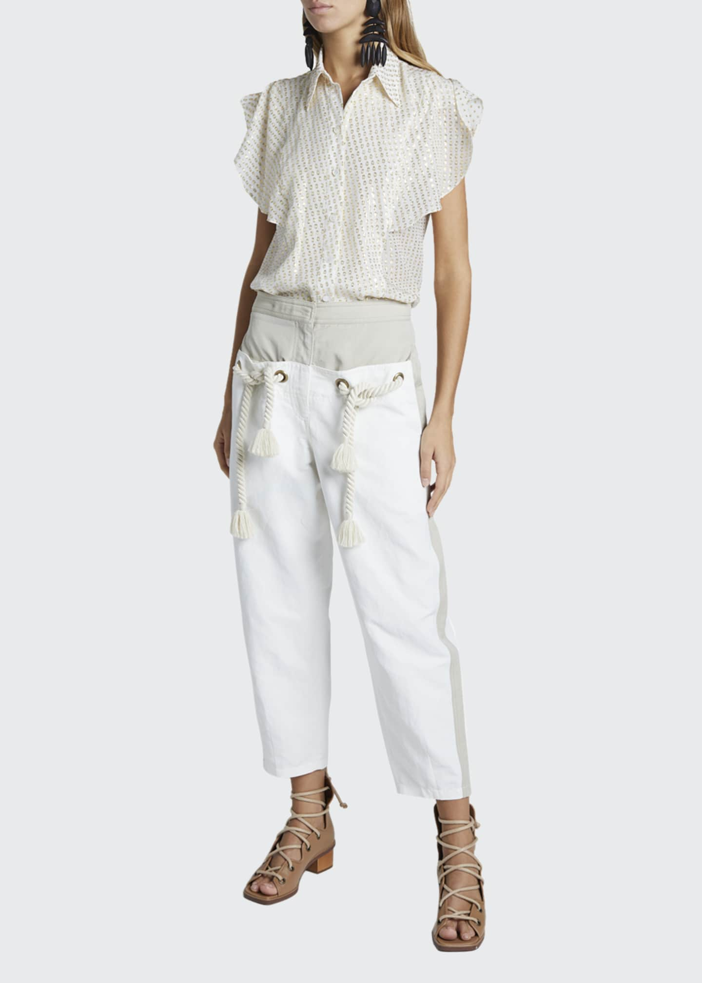 Image 1 of 4: Cropped Pants With Belt