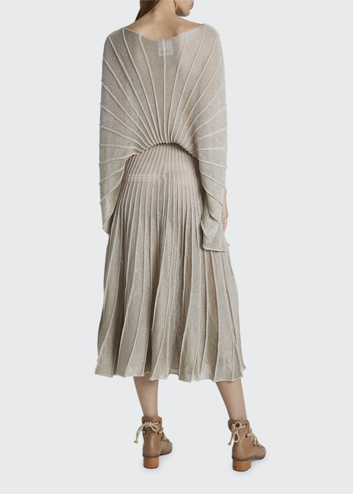 Image 2 of 2: Metallic Pleated Boat-Neck Dress