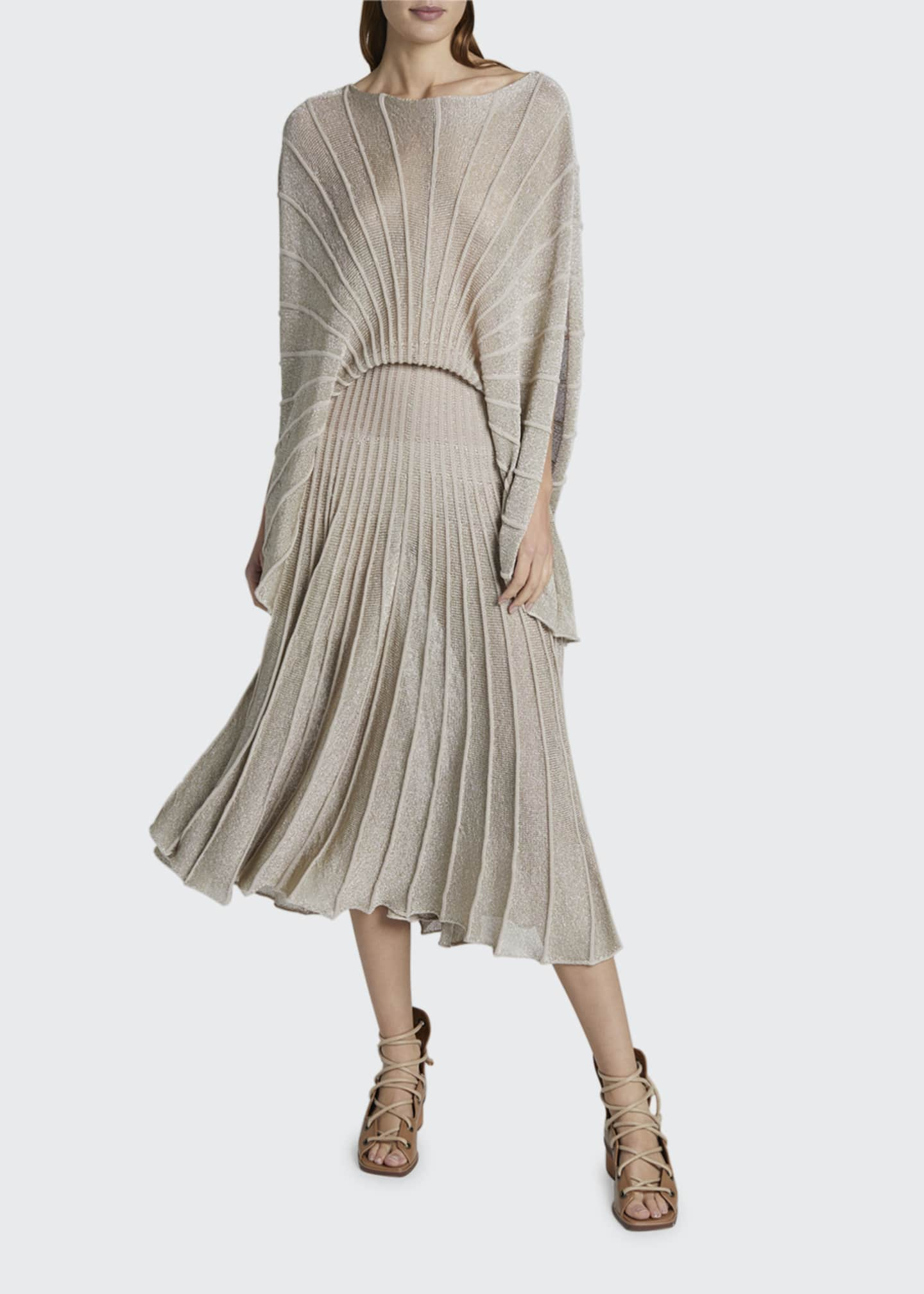 Image 1 of 2: Metallic Pleated Boat-Neck Dress