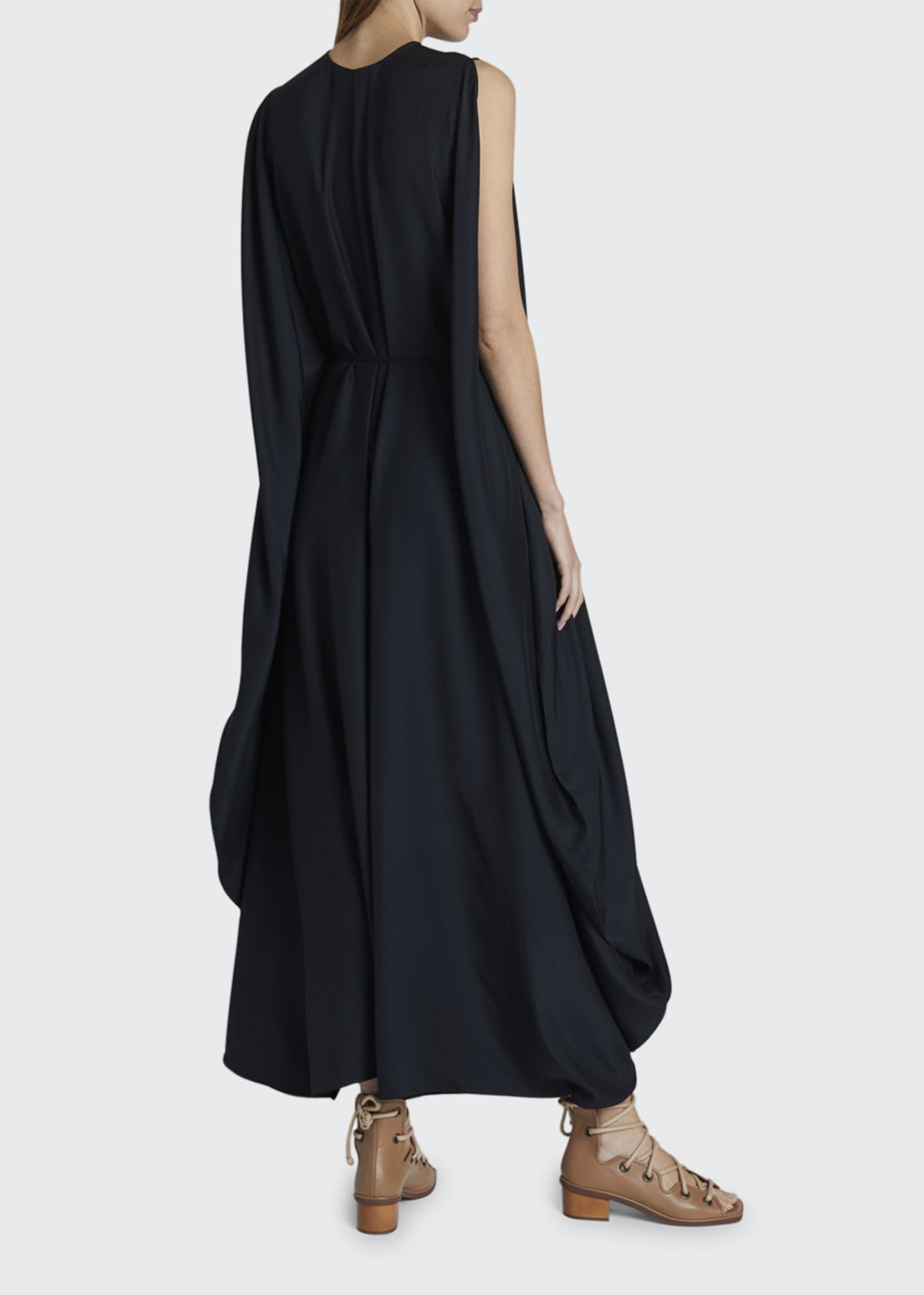 Image 2 of 2: Satin Ruched Waist Maxi Dress