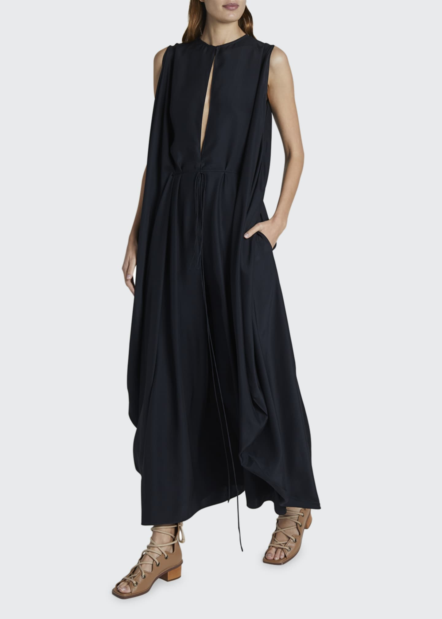 Image 1 of 2: Satin Ruched Waist Maxi Dress