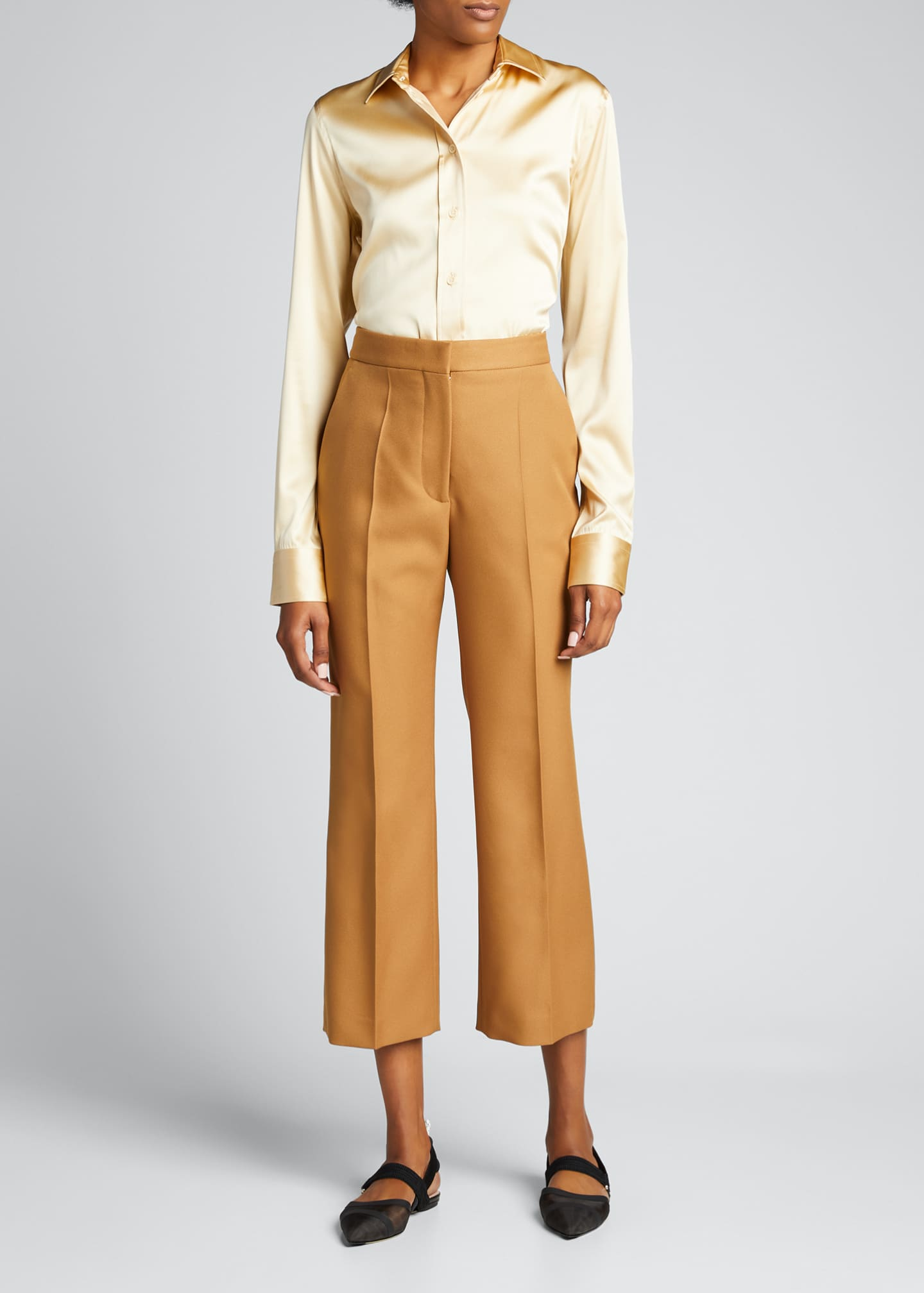 Image 1 of 5: Straight-Leg Cropped Pants