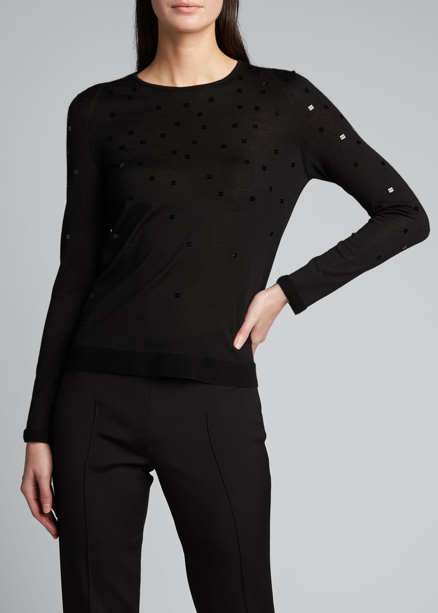 Image 3 of 5: Cashmere-Silk Sequined Sweater