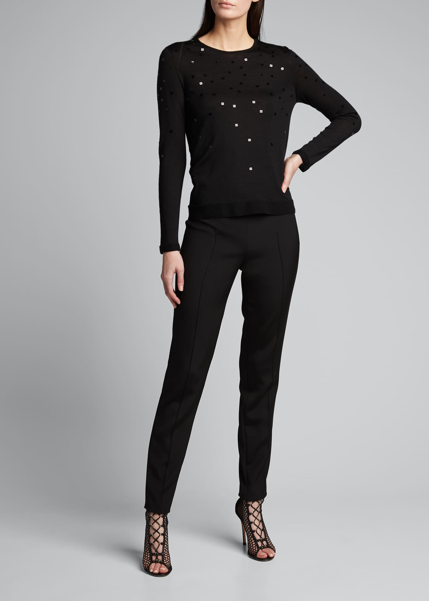 Image 1 of 5: Cashmere-Silk Sequined Sweater