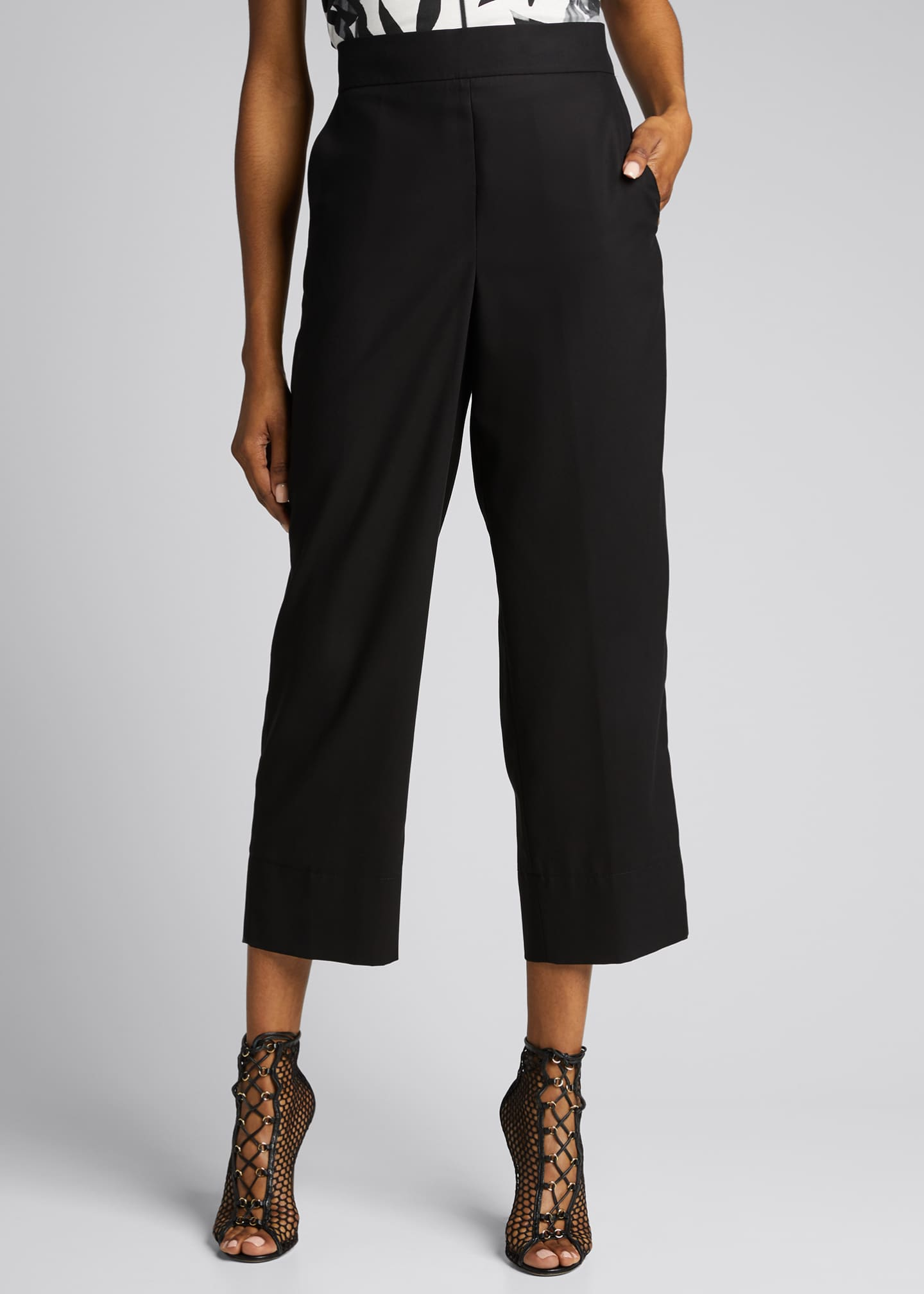 Image 3 of 5: Chrissy Cotton-Silk Poplin Pants